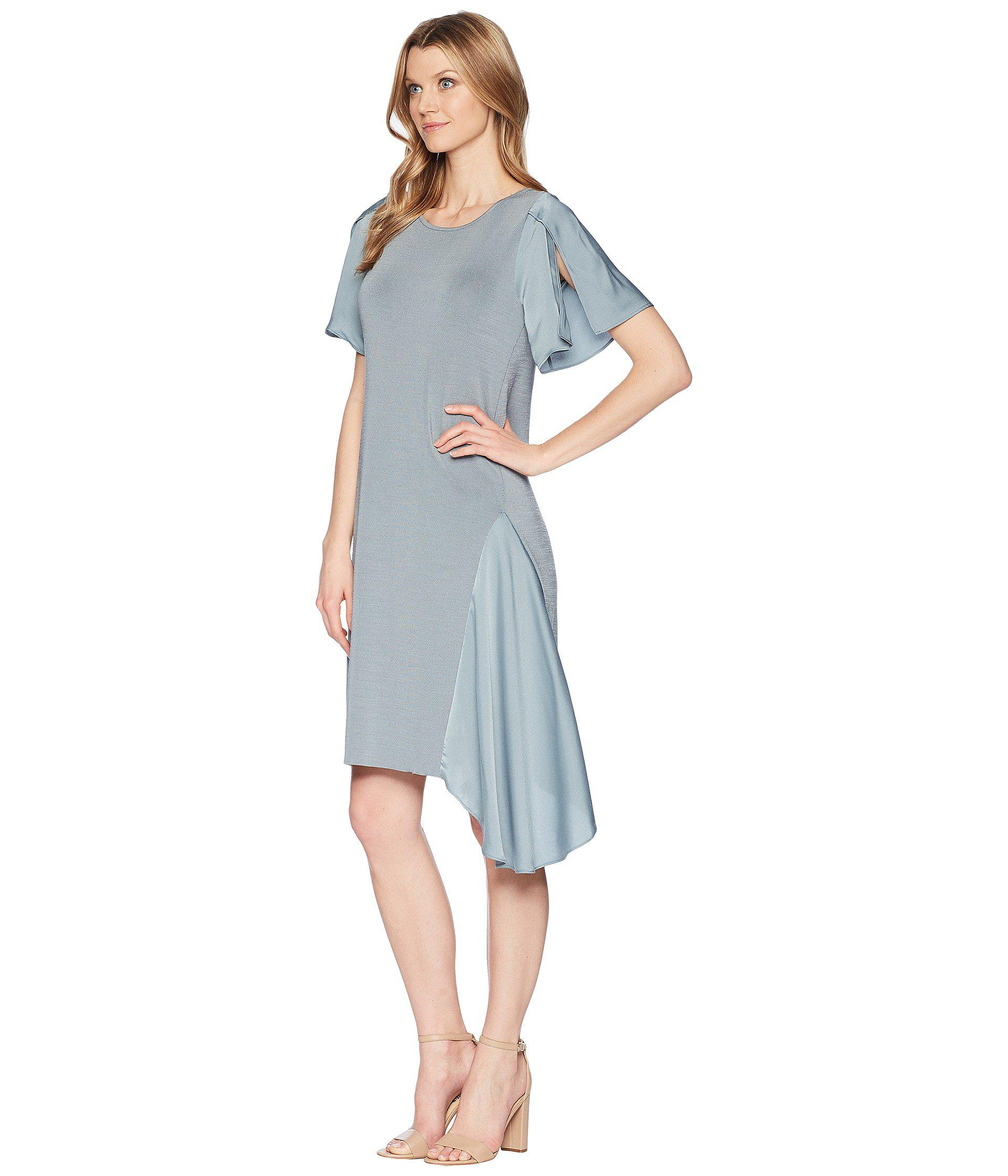 aa6a979cfc2 Lyst - NIC+ZOE Mixed Flutter Dress in Blue - Save 53%