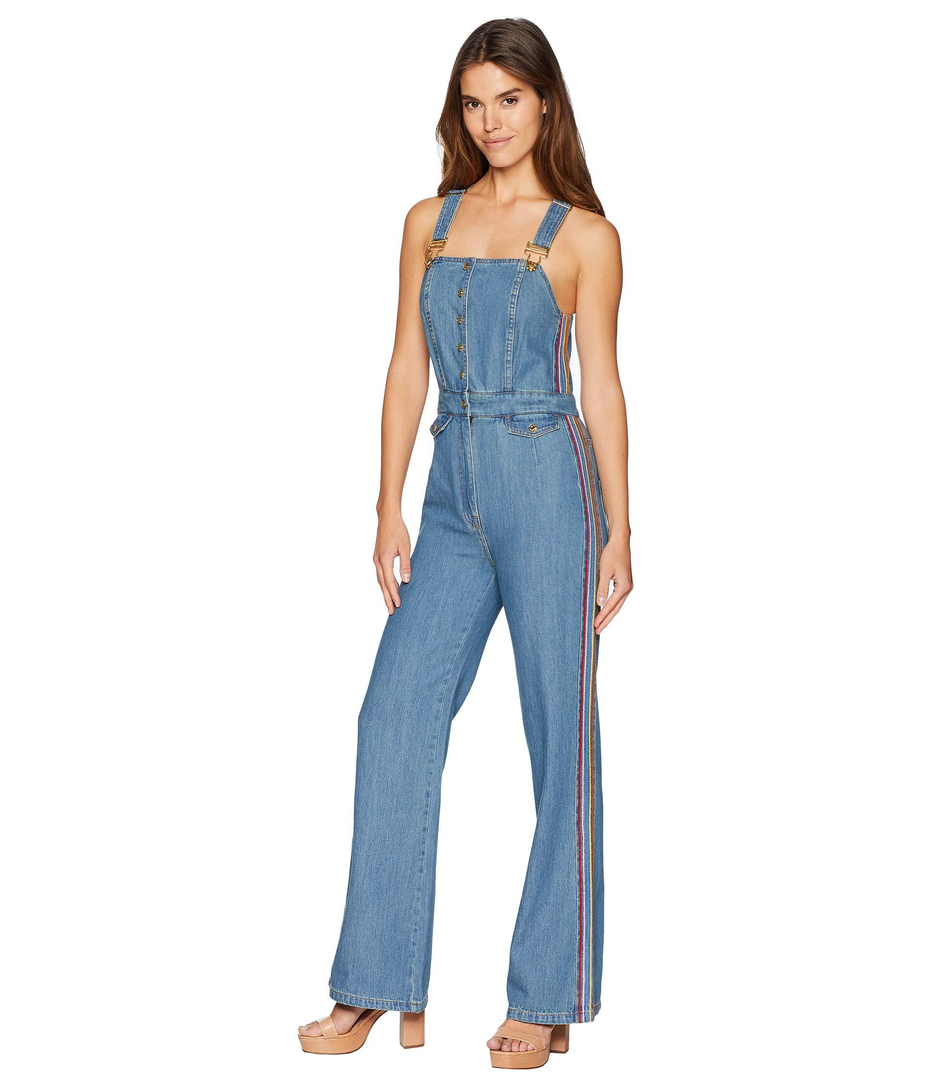487deef2e41 Lyst - Juicy Couture Denim Multicolor Embroidered Overall in Blue