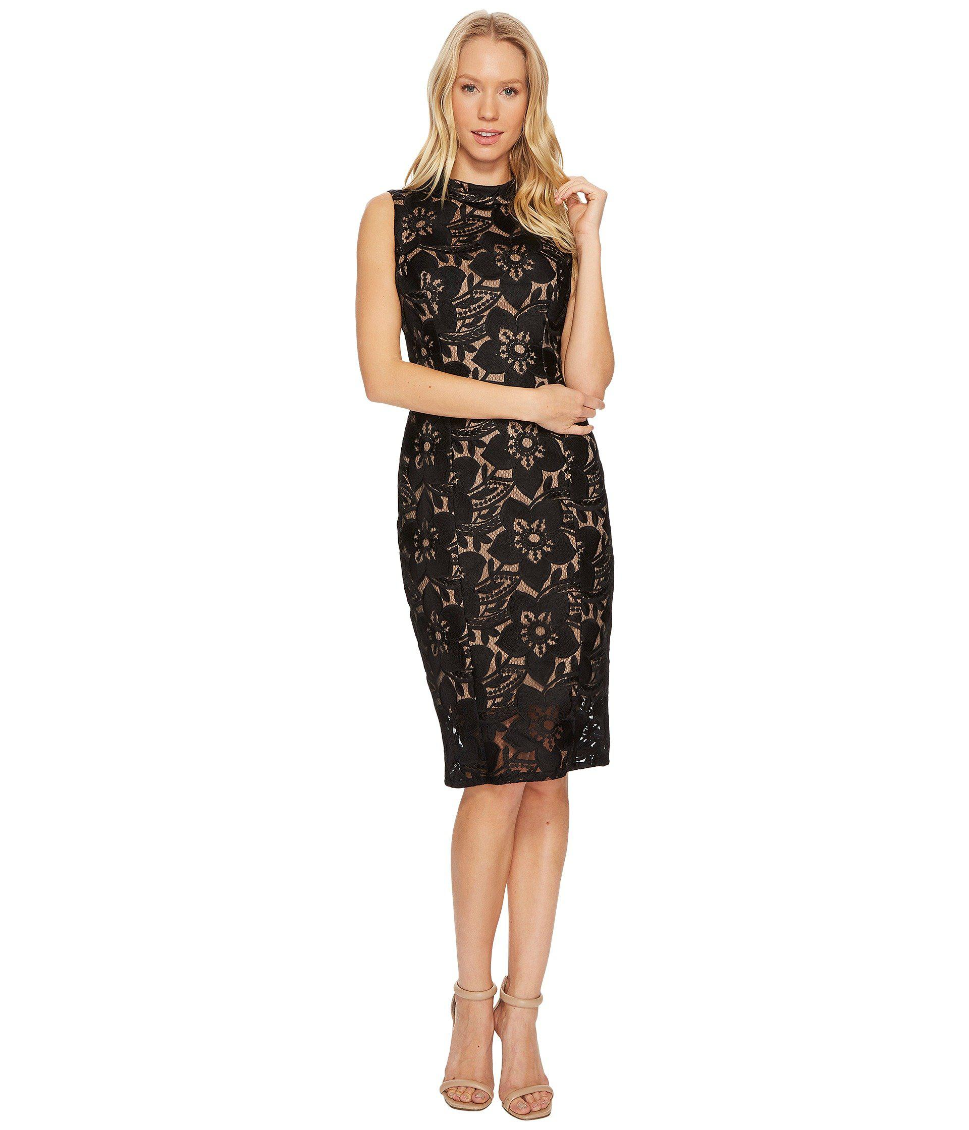 62ece46e Lyst - Adrianna Papell Lace Mock Neck Sheath Dress in Black - Save 42%