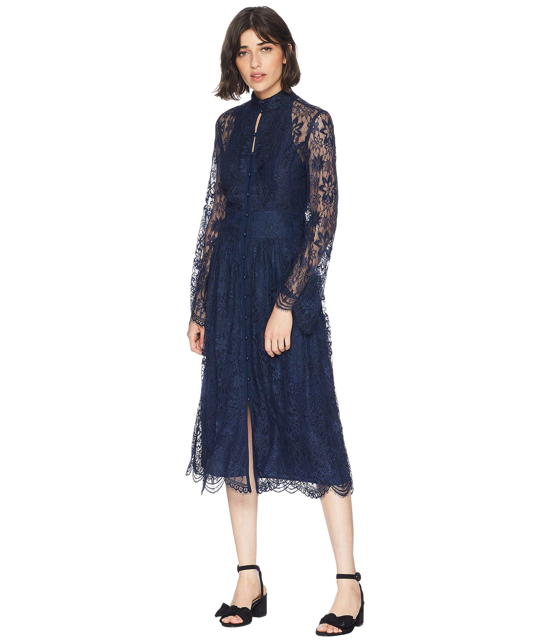 Lyst - Juicy Couture Kendall Lace Midi Dress in Blue 7907ba0e7
