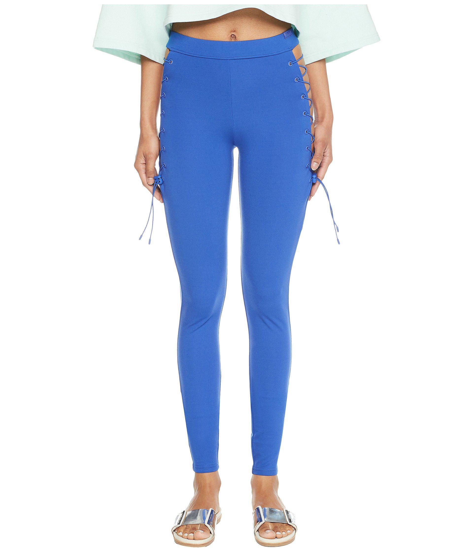 21301f9672a5 Lyst - PUMA X Fenty By Rihanna Side Lace Leggings in Blue - Save 65%