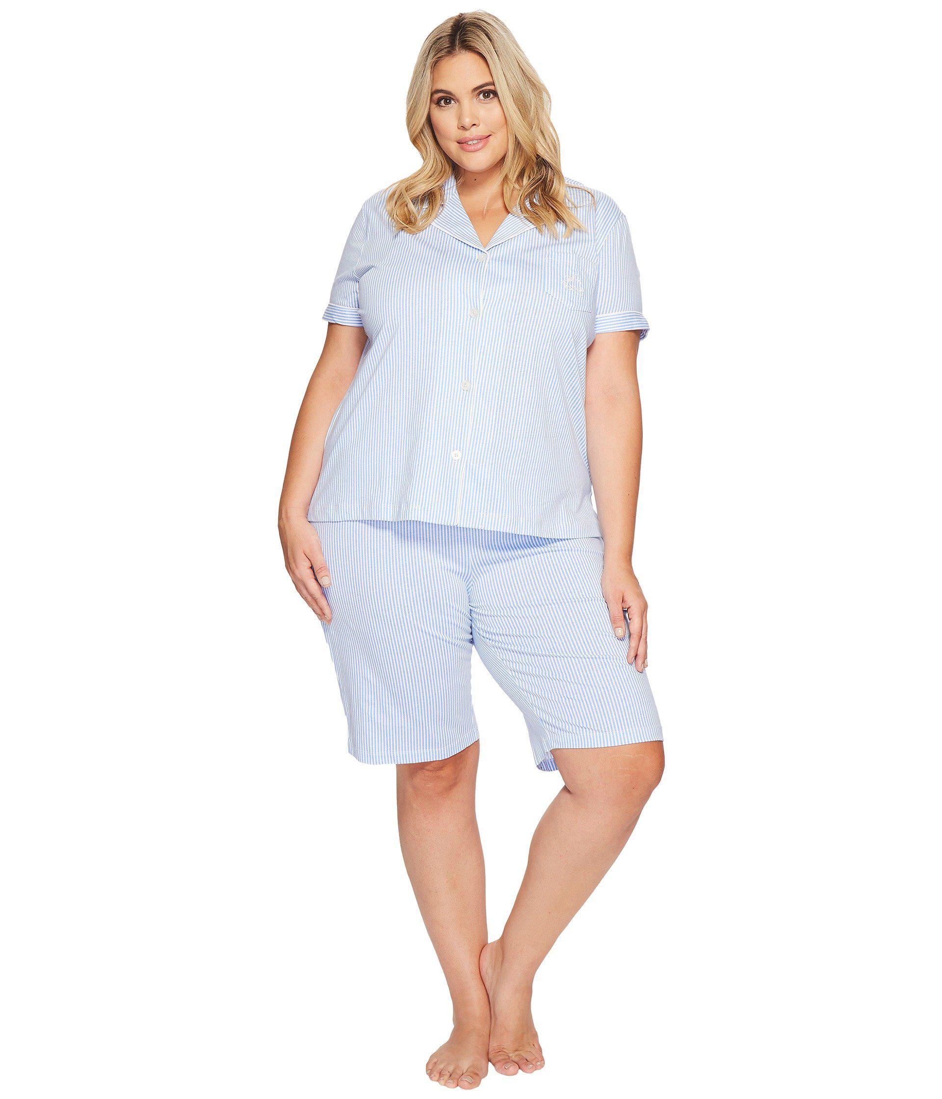 ed3e92b10f Lauren by Ralph Lauren. Women s Blue Plus Size Short Sleeve Notch Collar  Bermuda Shorts ...
