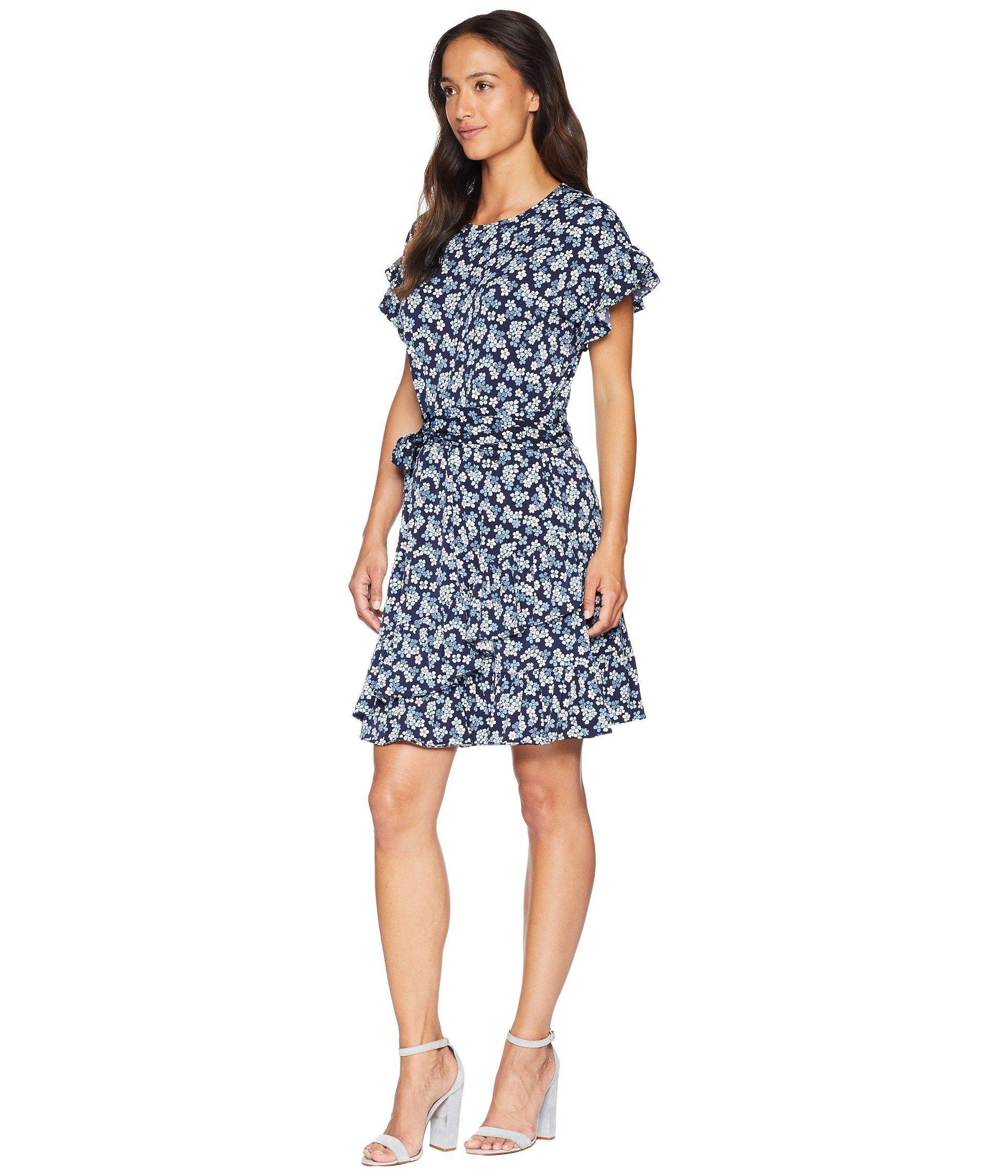 1371b9da239c6 Lyst - MICHAEL Michael Kors Cherry Ruffle Wrap Dress in Blue - Save 40%