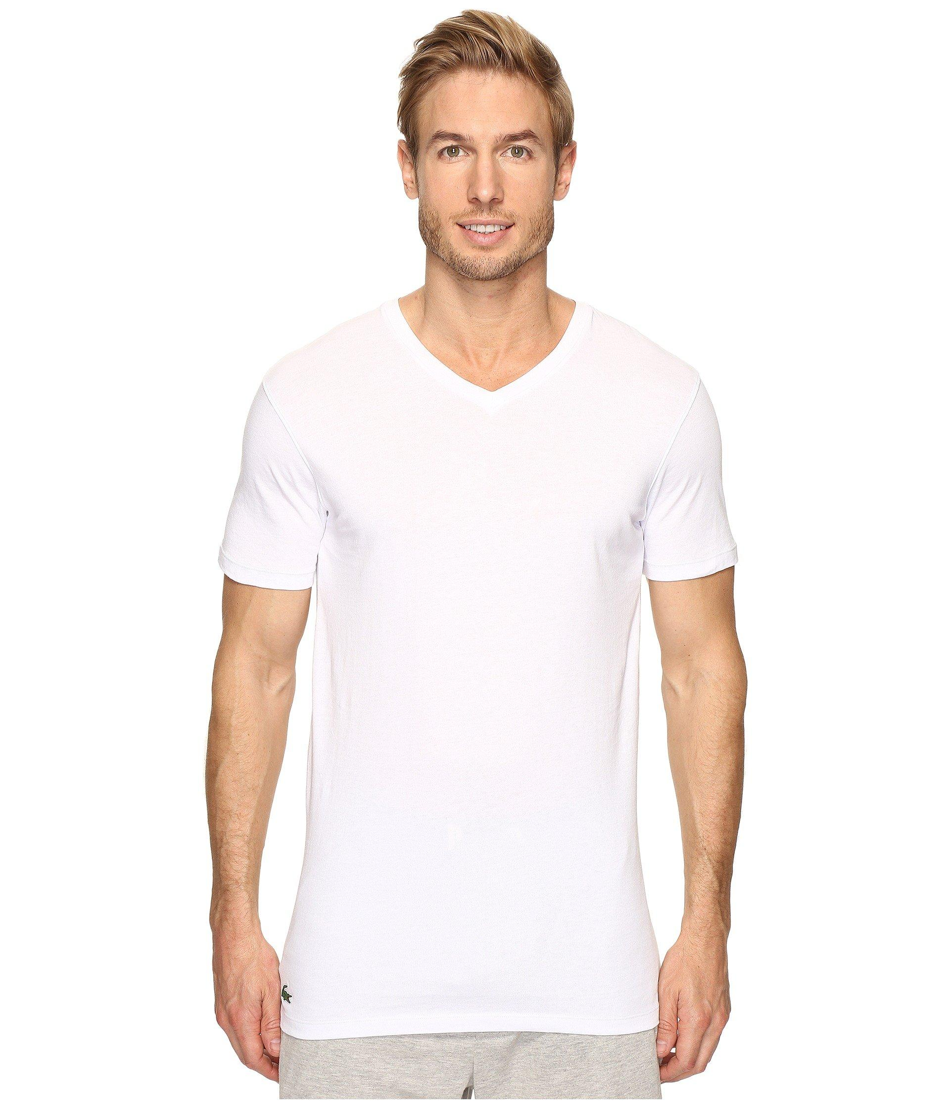 a1646d4a Lacoste Essentials 3-pack V-neck Tee in White for Men - Lyst