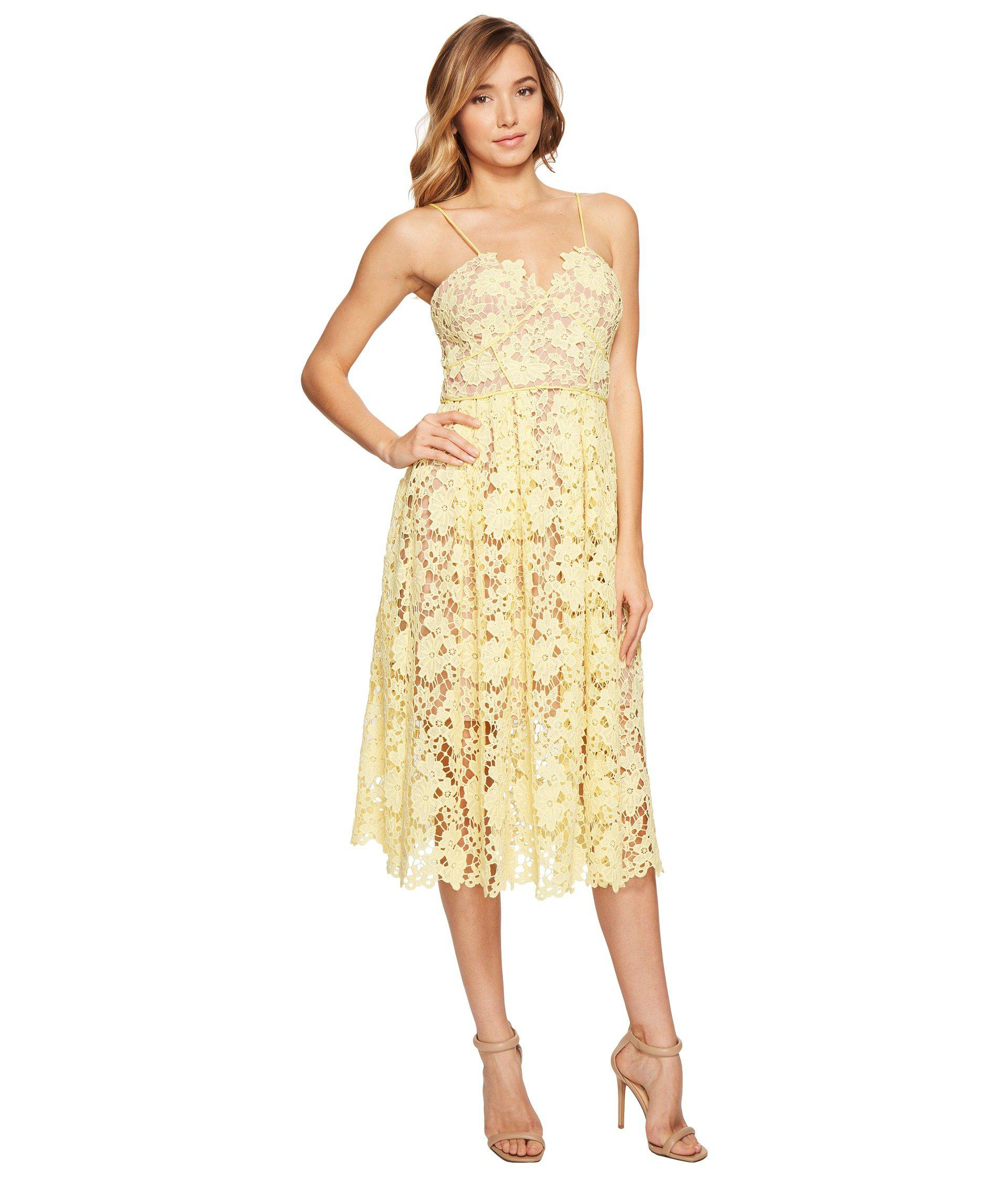 57aa1c7d9daa Donna Morgan Chemical Lace Spaghetti Strap Midi in Yellow - Lyst