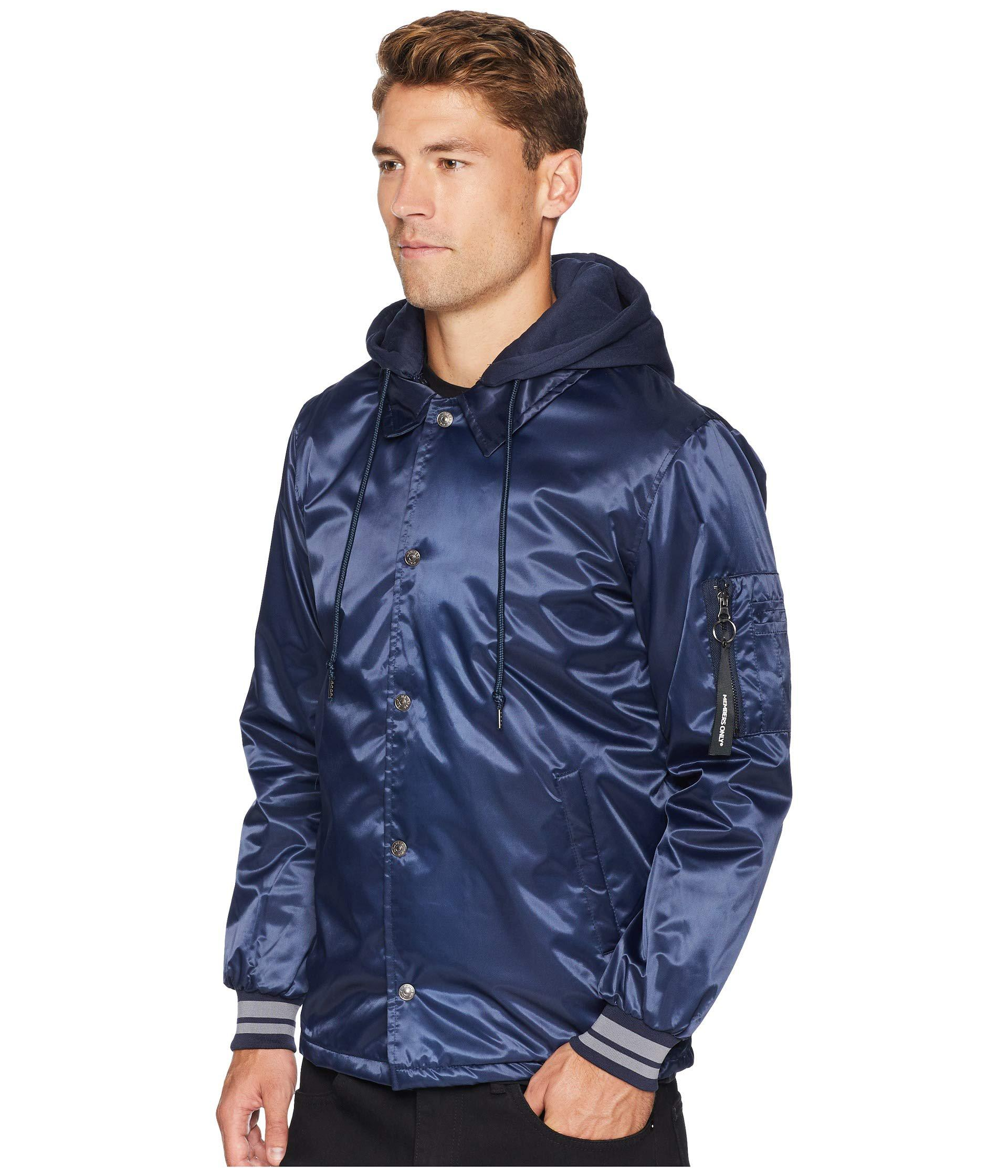 Members Only Mens Coach Jacket with Detachable Hood