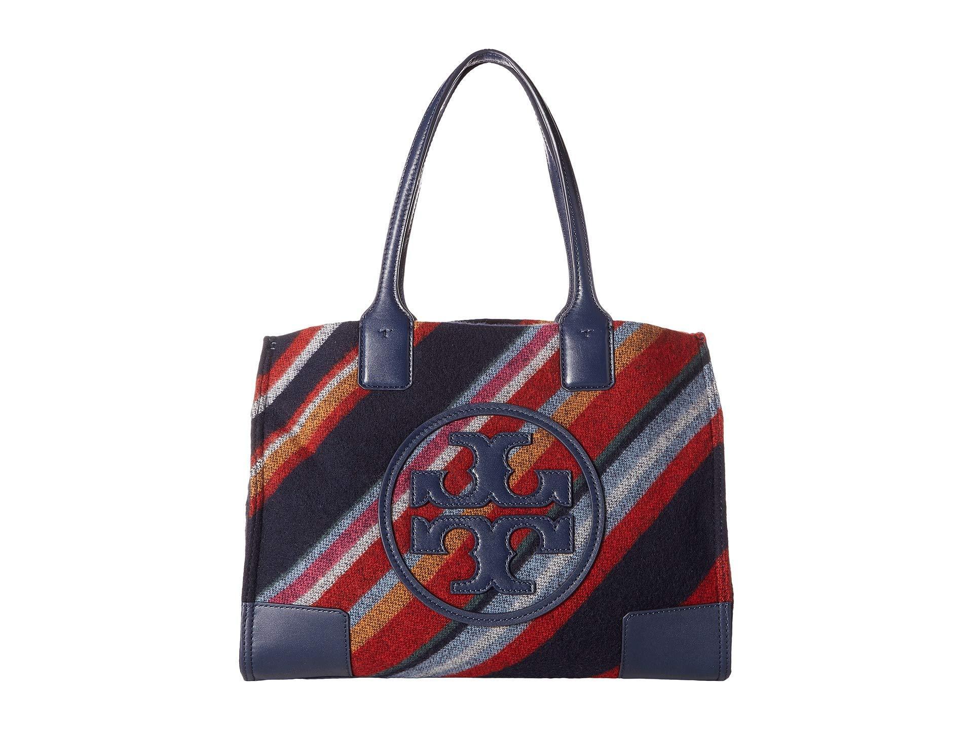 ca99f167eddf Lyst - Tory Burch Ella Fabric Stripe Mini Tote in Blue - Save 50%