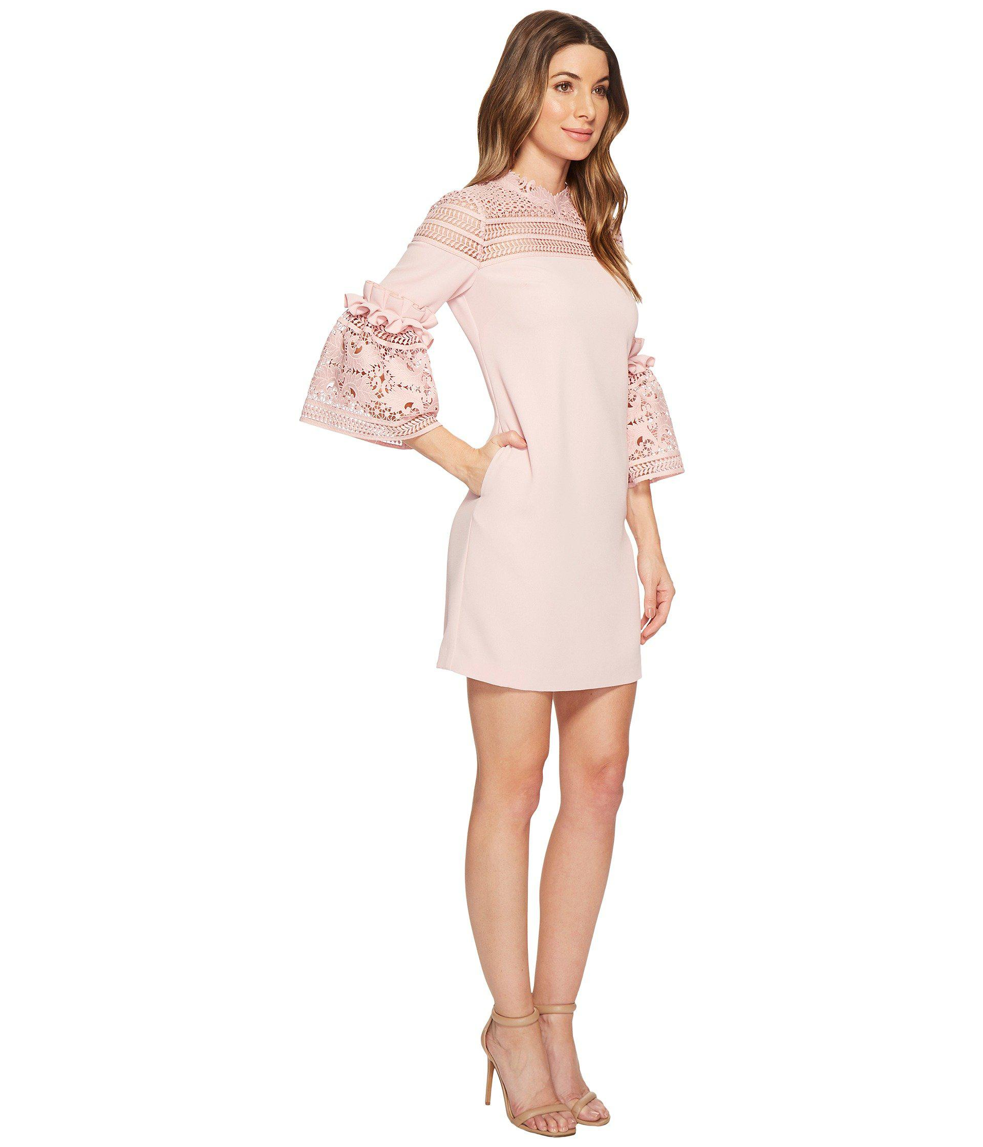 a84cd807c5b70 Ted Baker Lucila Lace Panel Bell Sleeve Tunic in Pink - Lyst