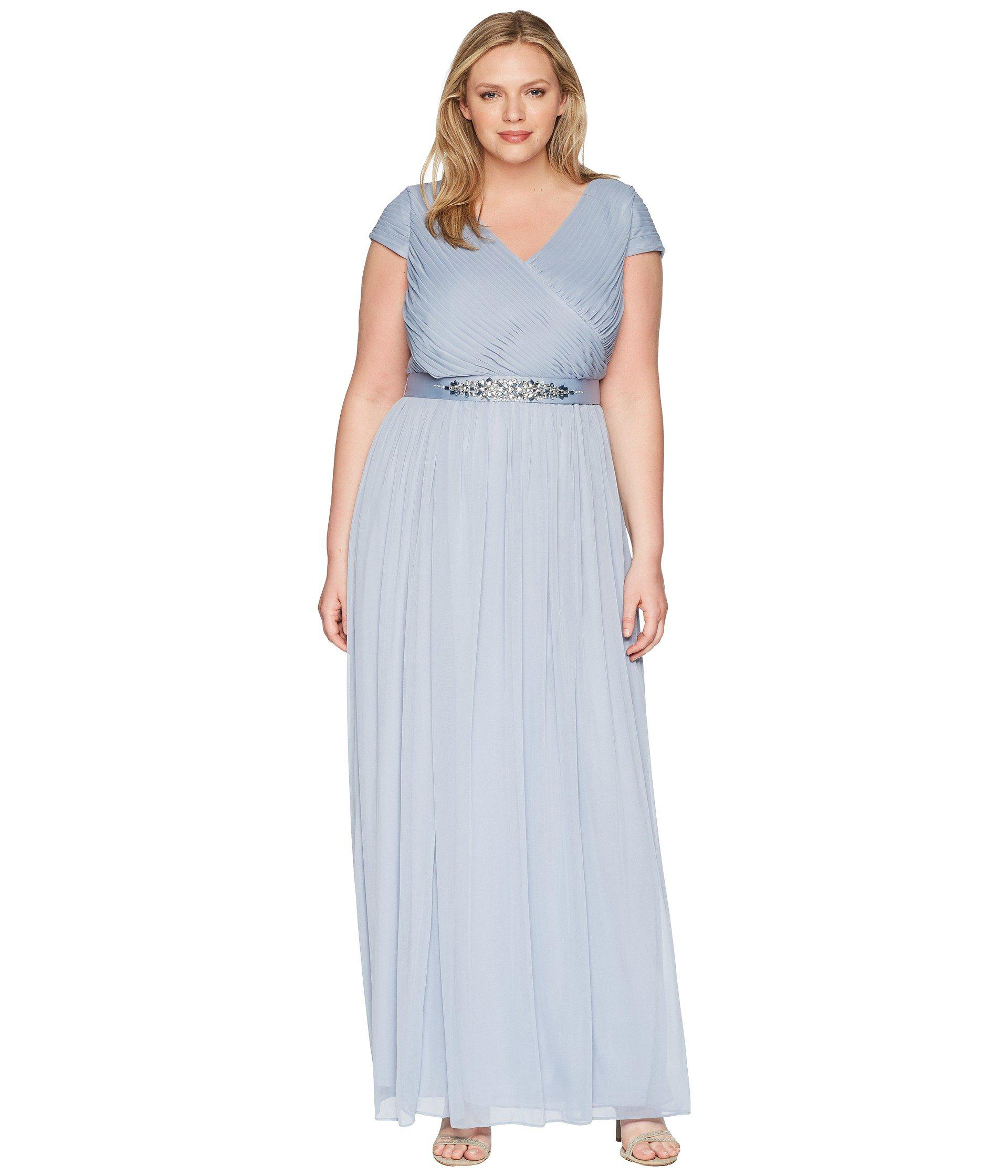 017b45286df4e Lyst - Adrianna Papell Plus Size Long Shirred Dress in Blue - Save ...