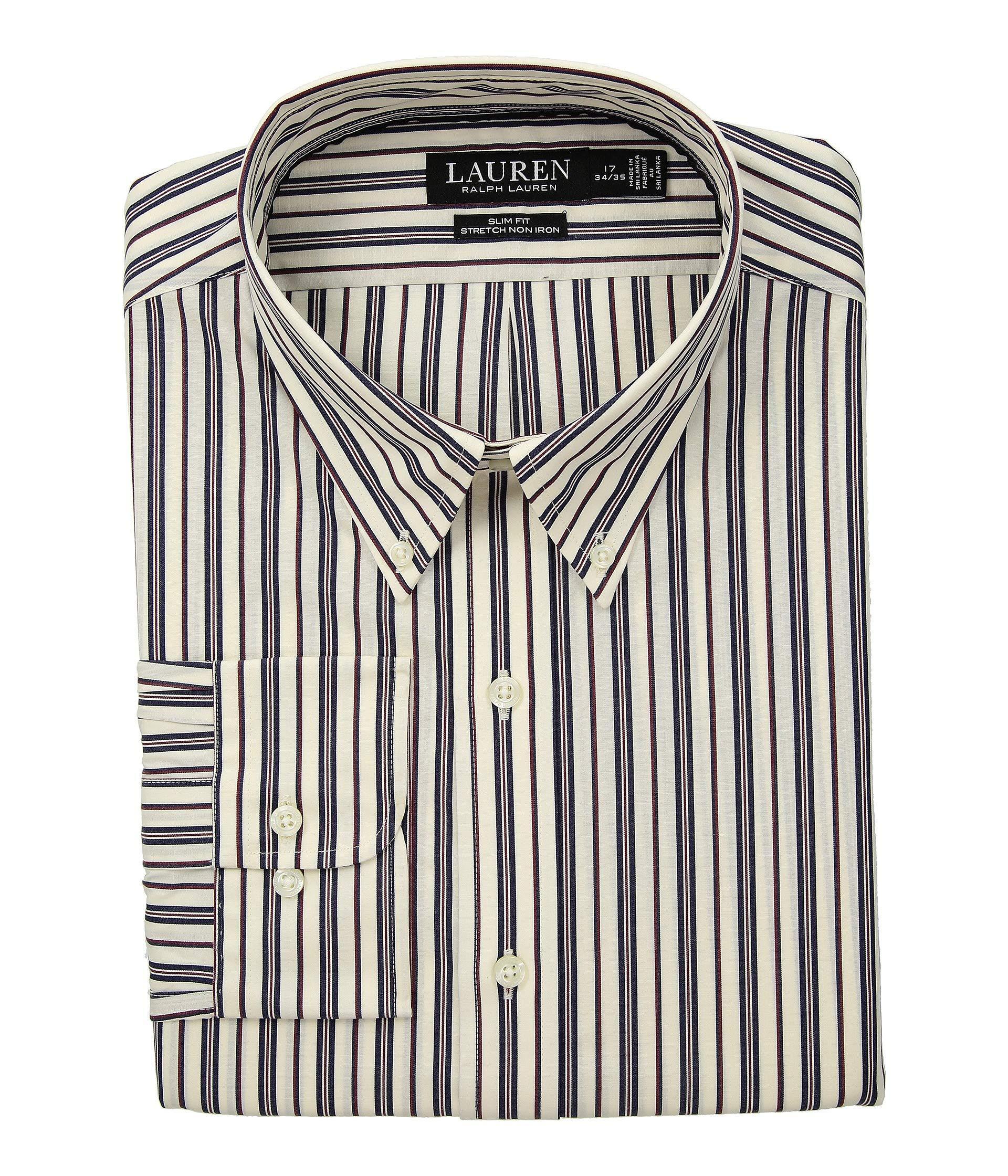 e16b6ca04d7 Lauren by Ralph Lauren. Men s Black Slim Fit No-iron Multi-stripe Poplin  Dress Shirt