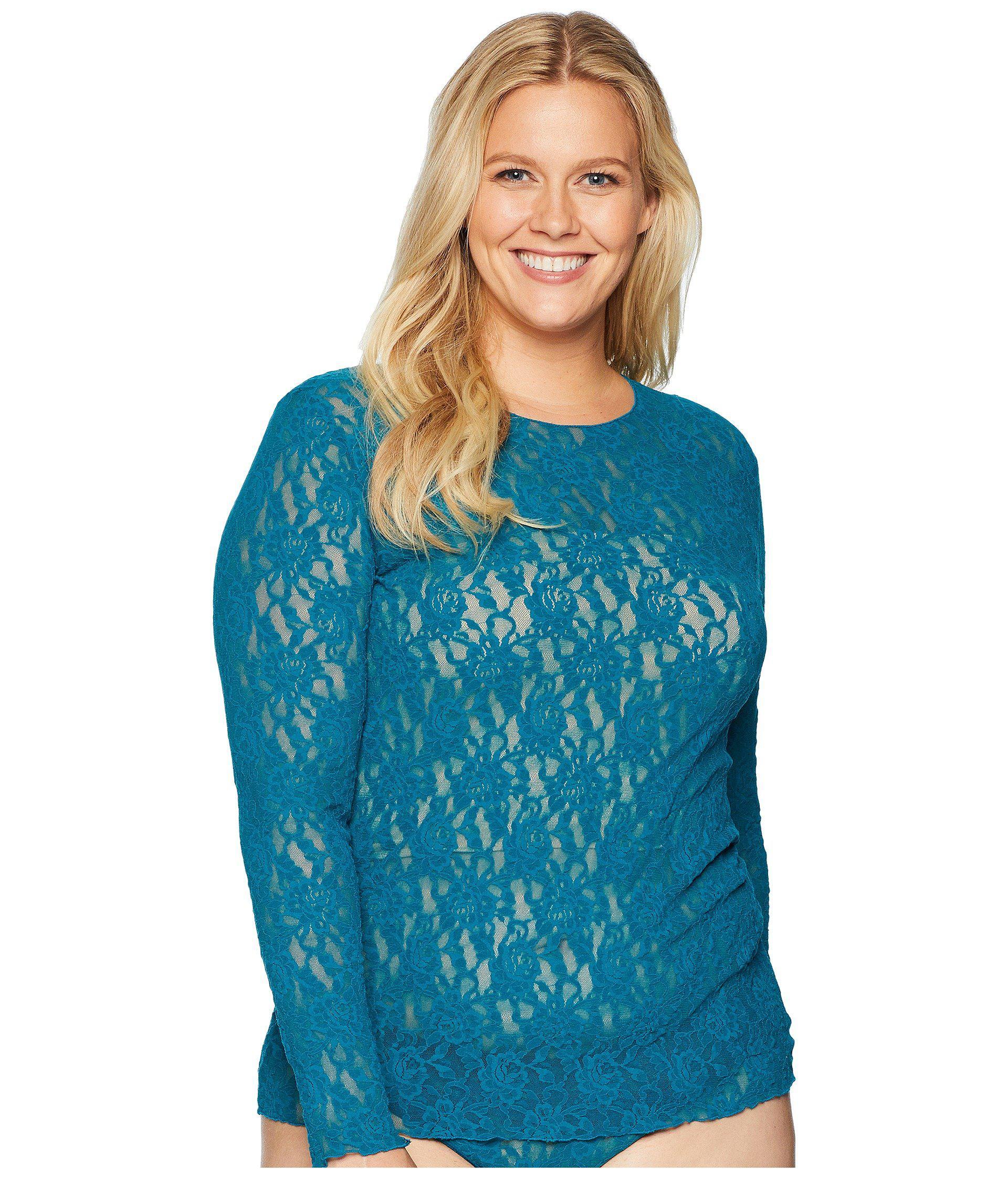 ac13161607d Hanky Panky. Women s Blue Plus Size Signature Lace Unlined Long Sleeve Top