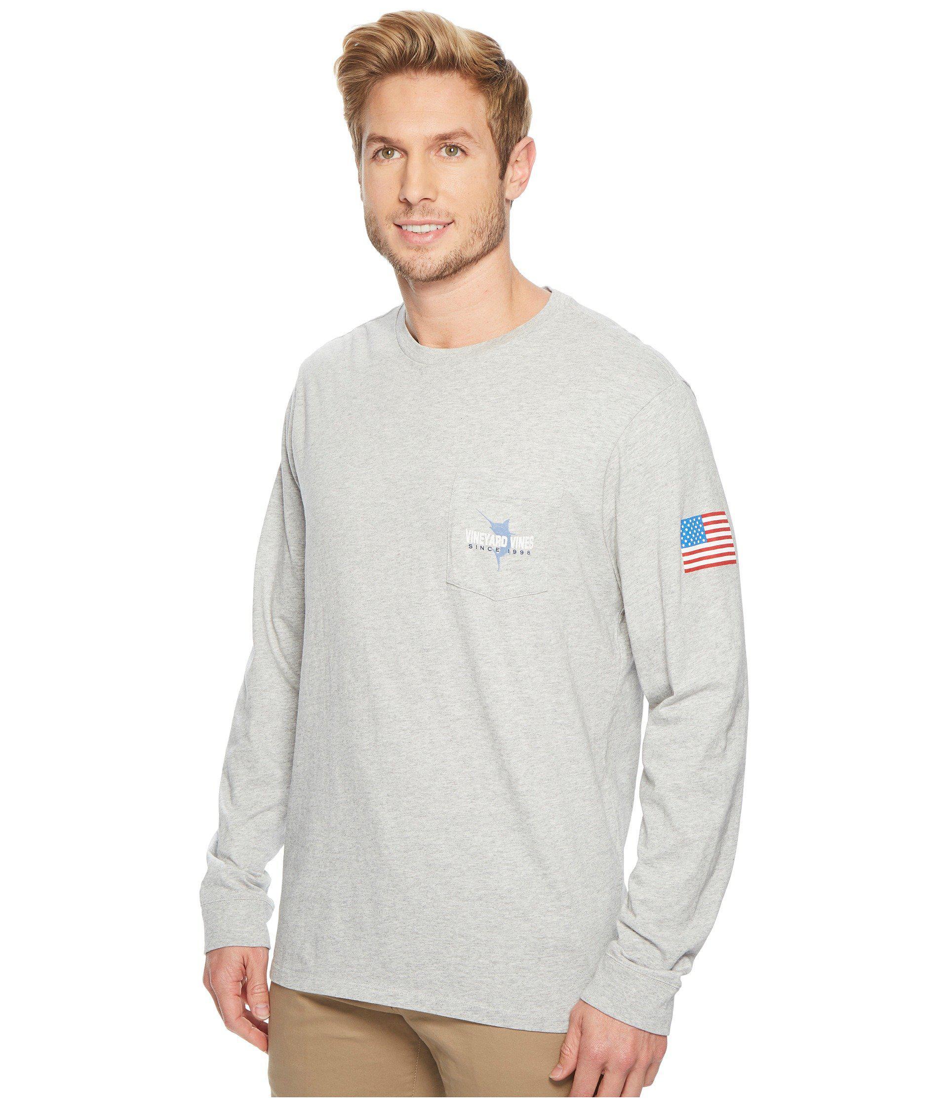 a79112a11 Lyst - Vineyard Vines Long Sleeve 98 Marlin Pocket Tee in Gray for Men