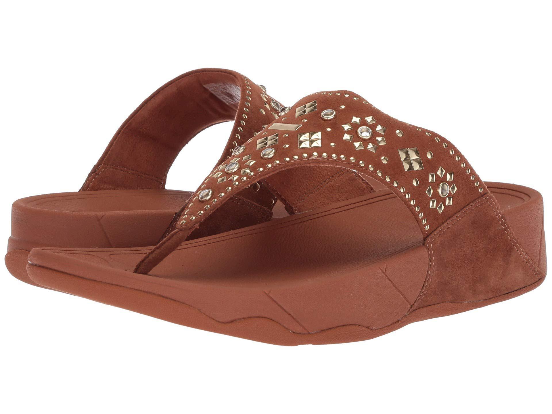 fc5abdb82edc3 Lyst - Fitflop Lulu Aztek Stud Toe-thong Sandals-suede in Brown ...