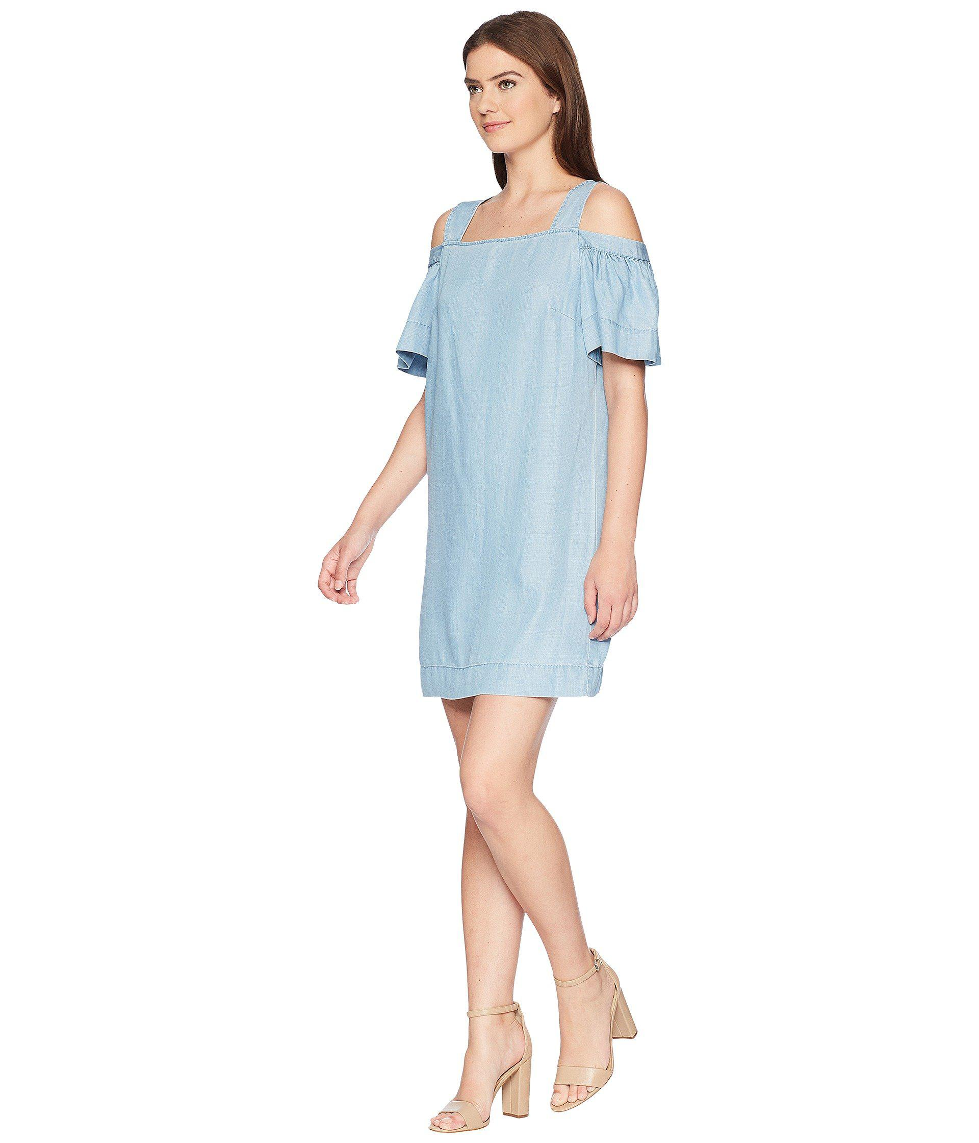 9918bda626958 Lyst - Two By Vince Camuto Ruffled Cold Shoulder Dress in Blue - Save 58%