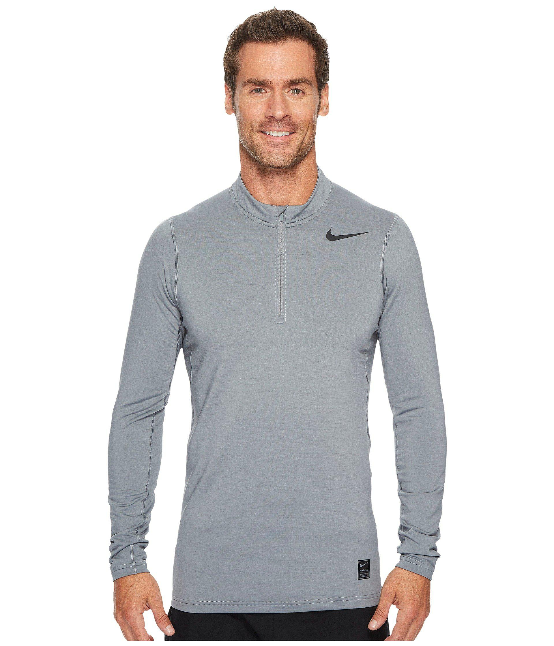 002b6ed46312 Lyst - Nike Pro Warm 1 4-zip Top in Gray for Men - Save 33%