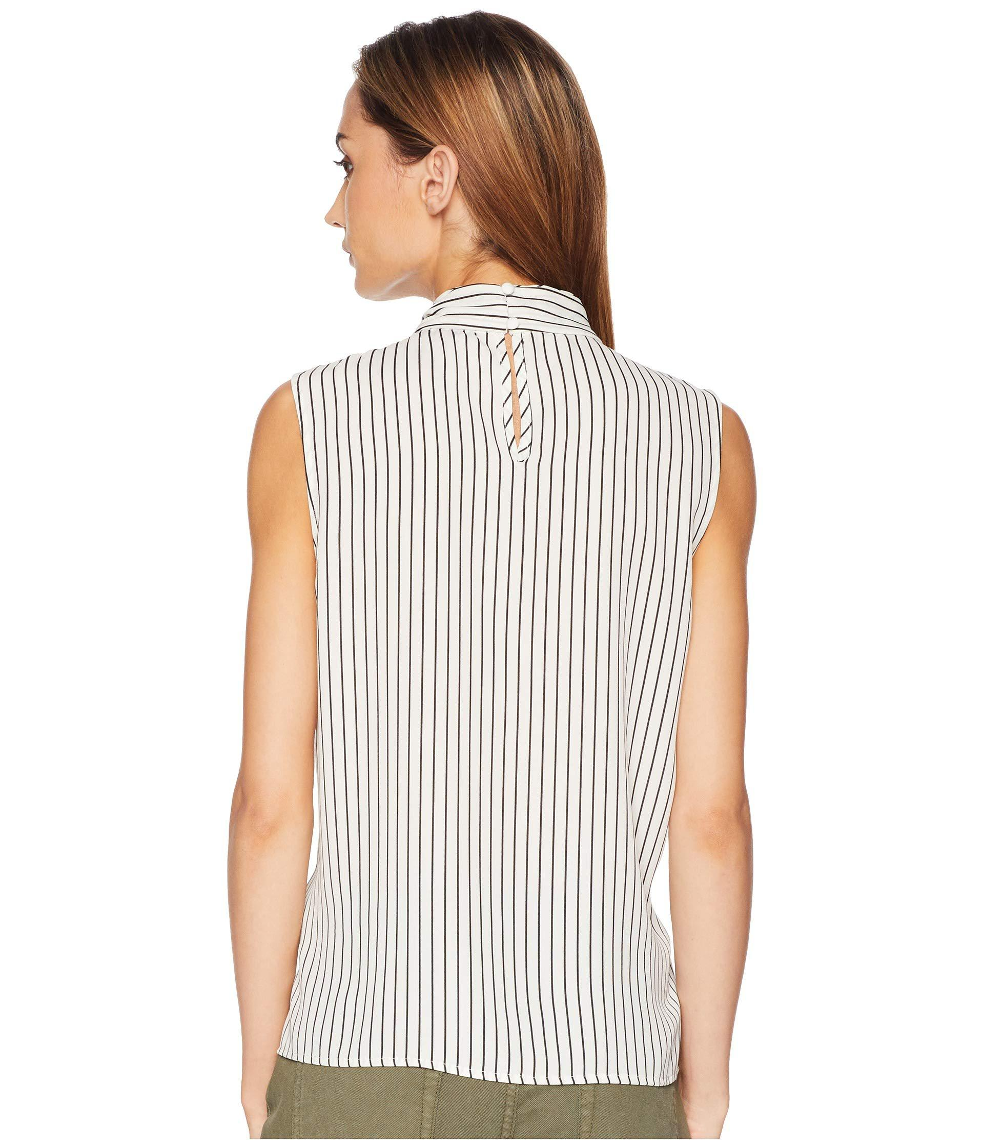 b4be62fba1a12 Lyst - Vince Camuto Sleeveless Legacy Pinstripe Tie Neck Blouse in White