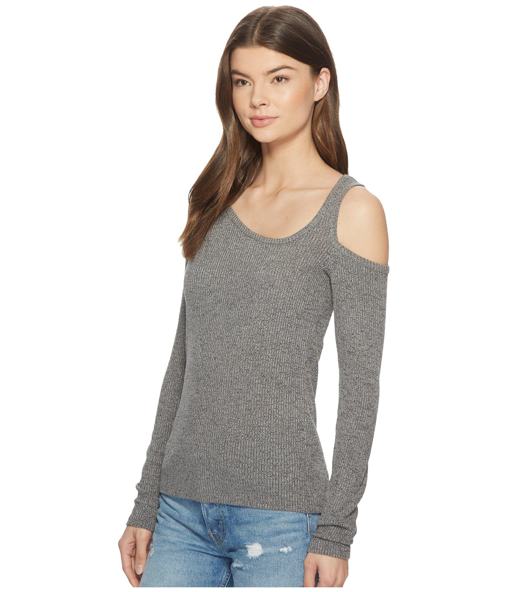 5bd60e3c4c7364 Lyst - Lucky Brand One Cold Shoulder Top in Gray - Save 55%