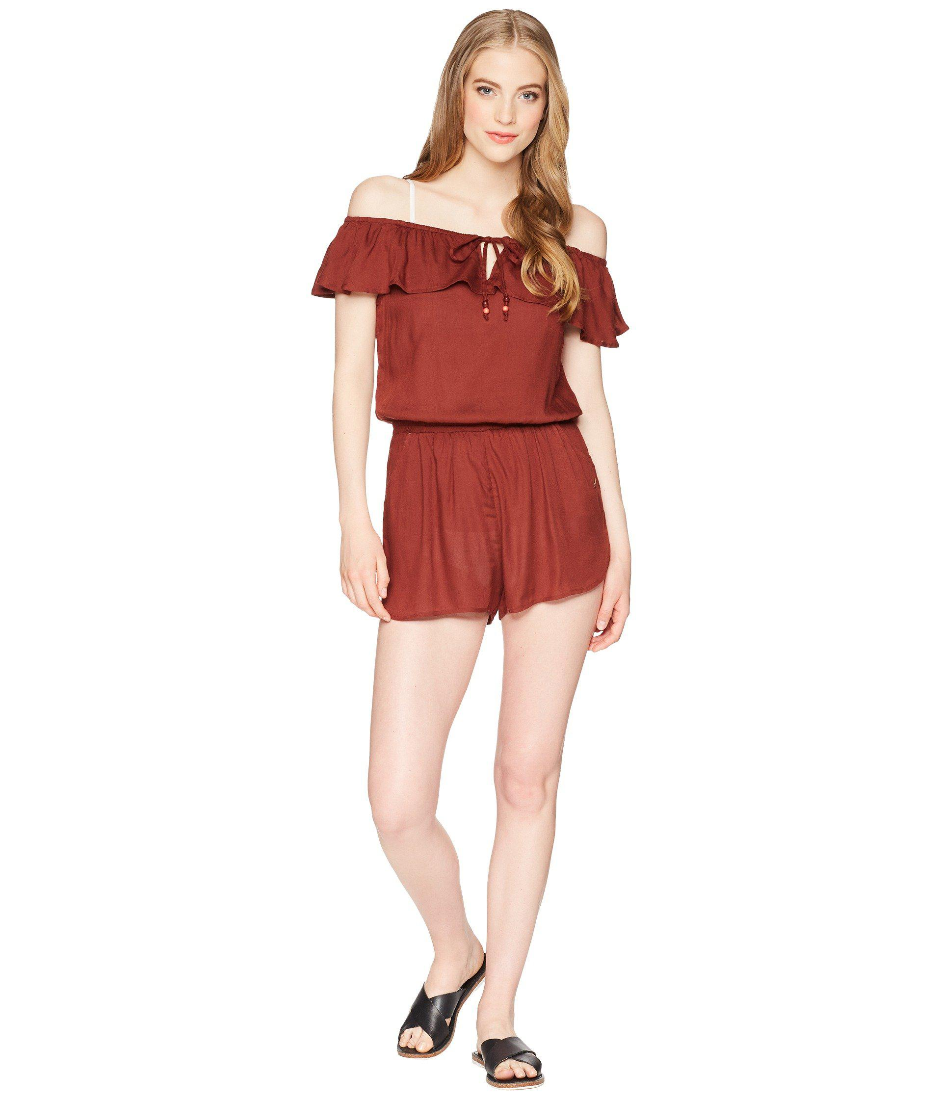 ca9cbc9028 Lyst - Roxy Western Holiday Romper Cover-up in Red