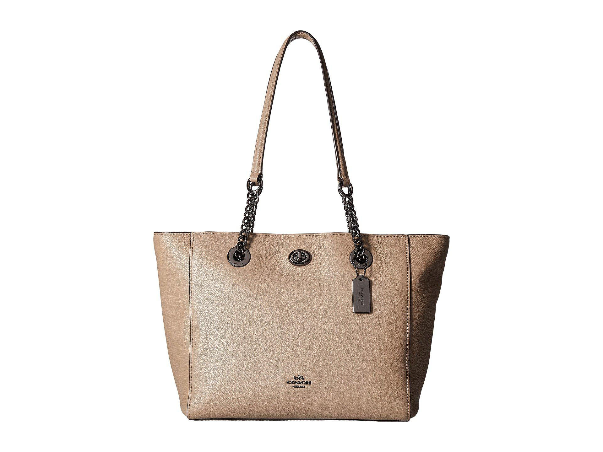 455c6c676776 Lyst - COACH Pebbled Leather Turnlock Chain Tote 27