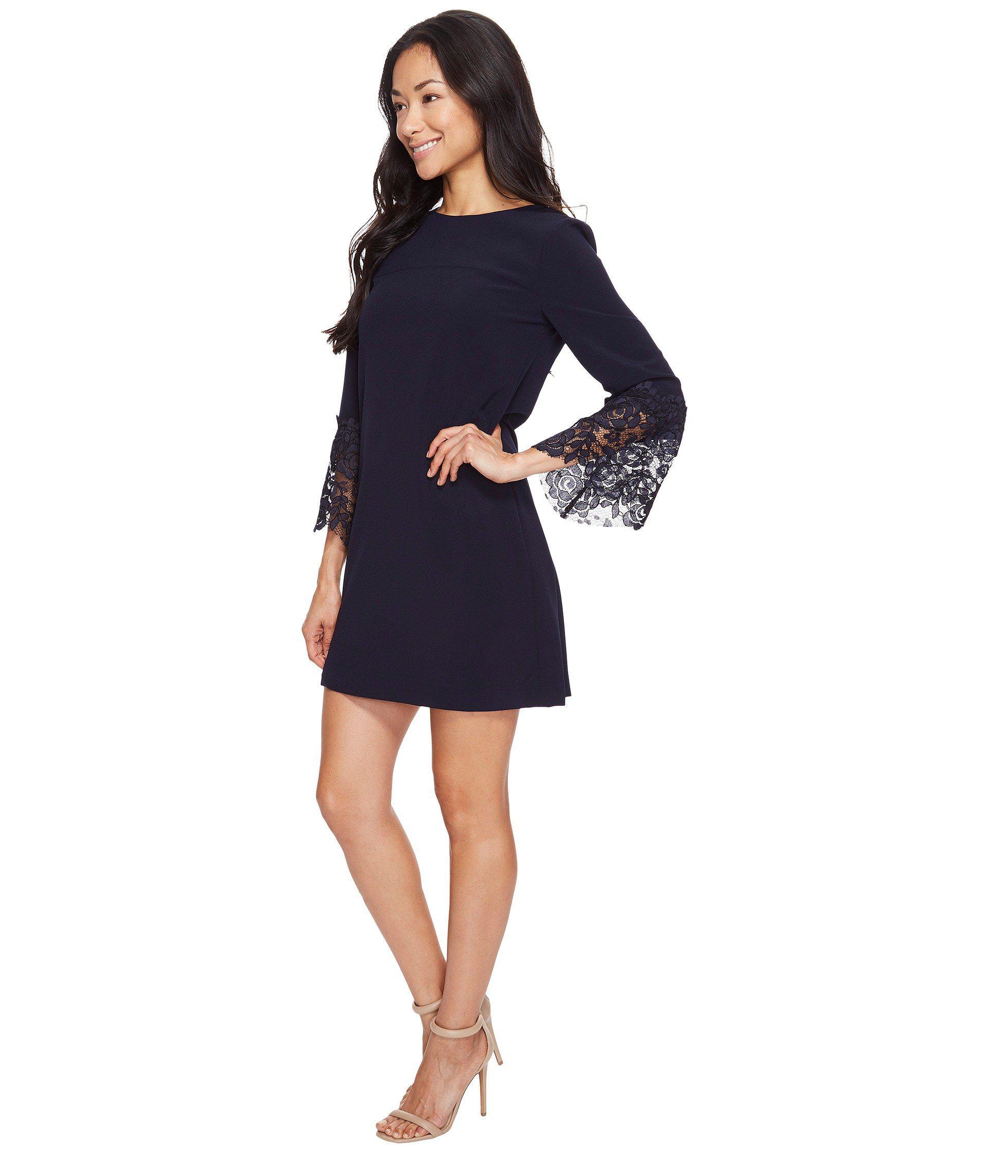 8ca3ca6f Tahari Petite Lace Bell Sleeve Shift Dress in Blue - Lyst