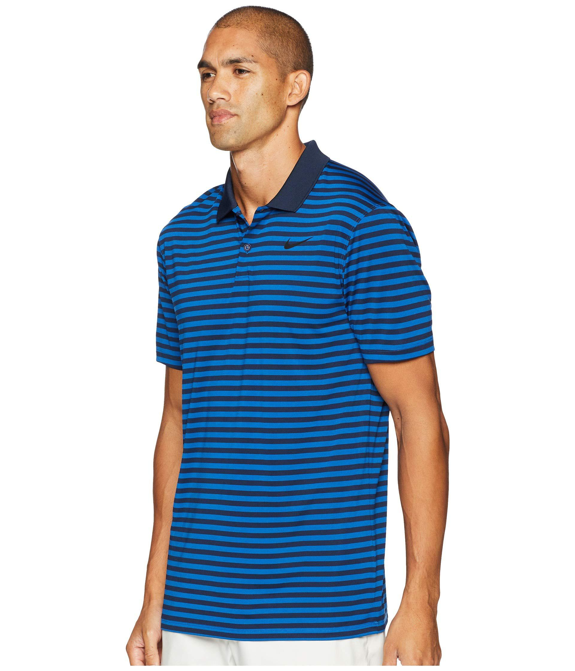 28bdbdb00a50 Lyst - Nike Dri-fittm Mini-stripe Victory Polo in Blue for Men