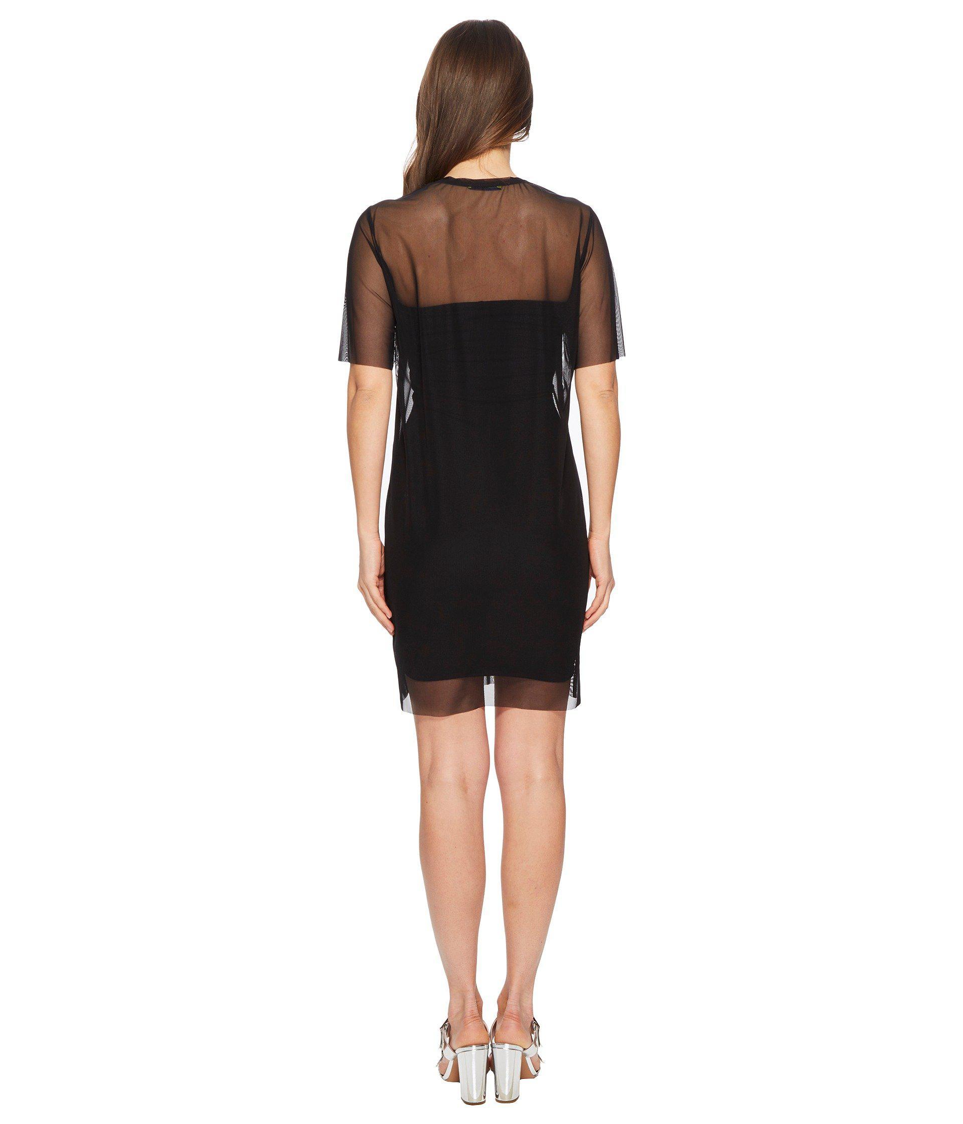 fec1fb5eda0d Versace Jeans - Black Sheer Overlay Short Sleeve Dress - Lyst. View  fullscreen