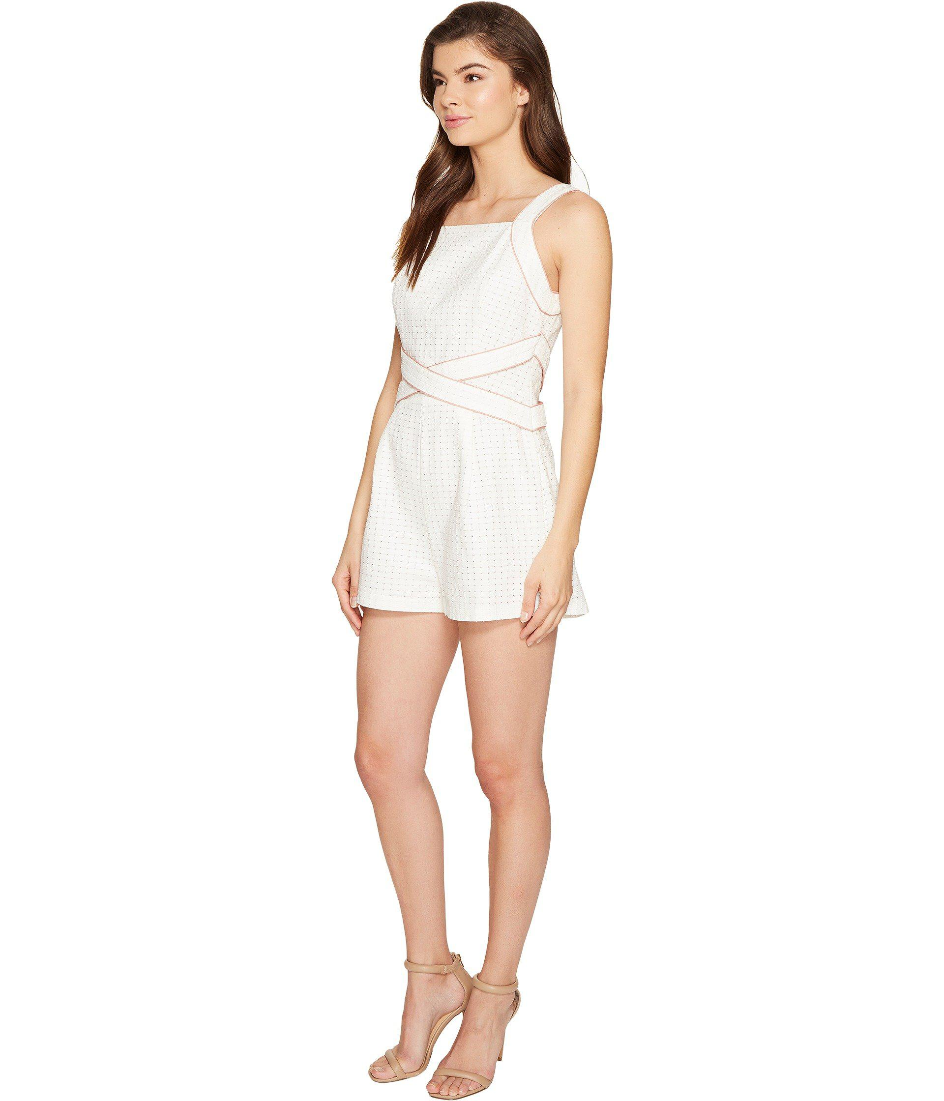 84f92c369fe1 Lyst - Adelyn Rae Constance Woven Jacquard Romper in White