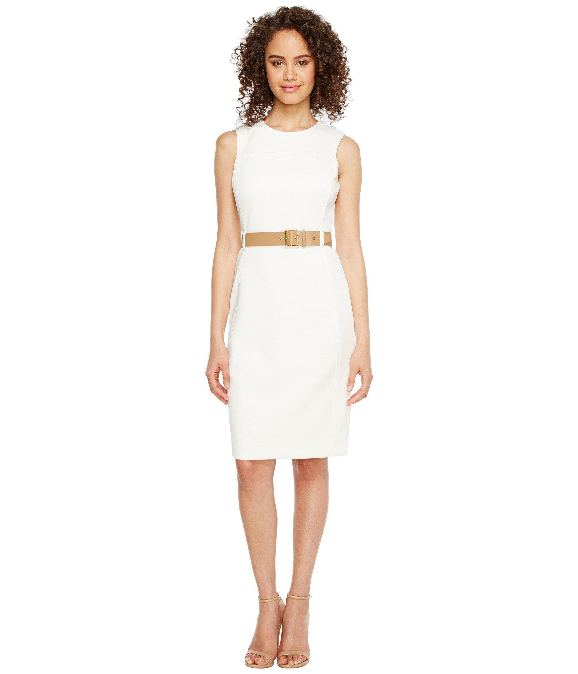 e7304478 Lyst - Calvin Klein Belted Scuba Sheath Dress in White
