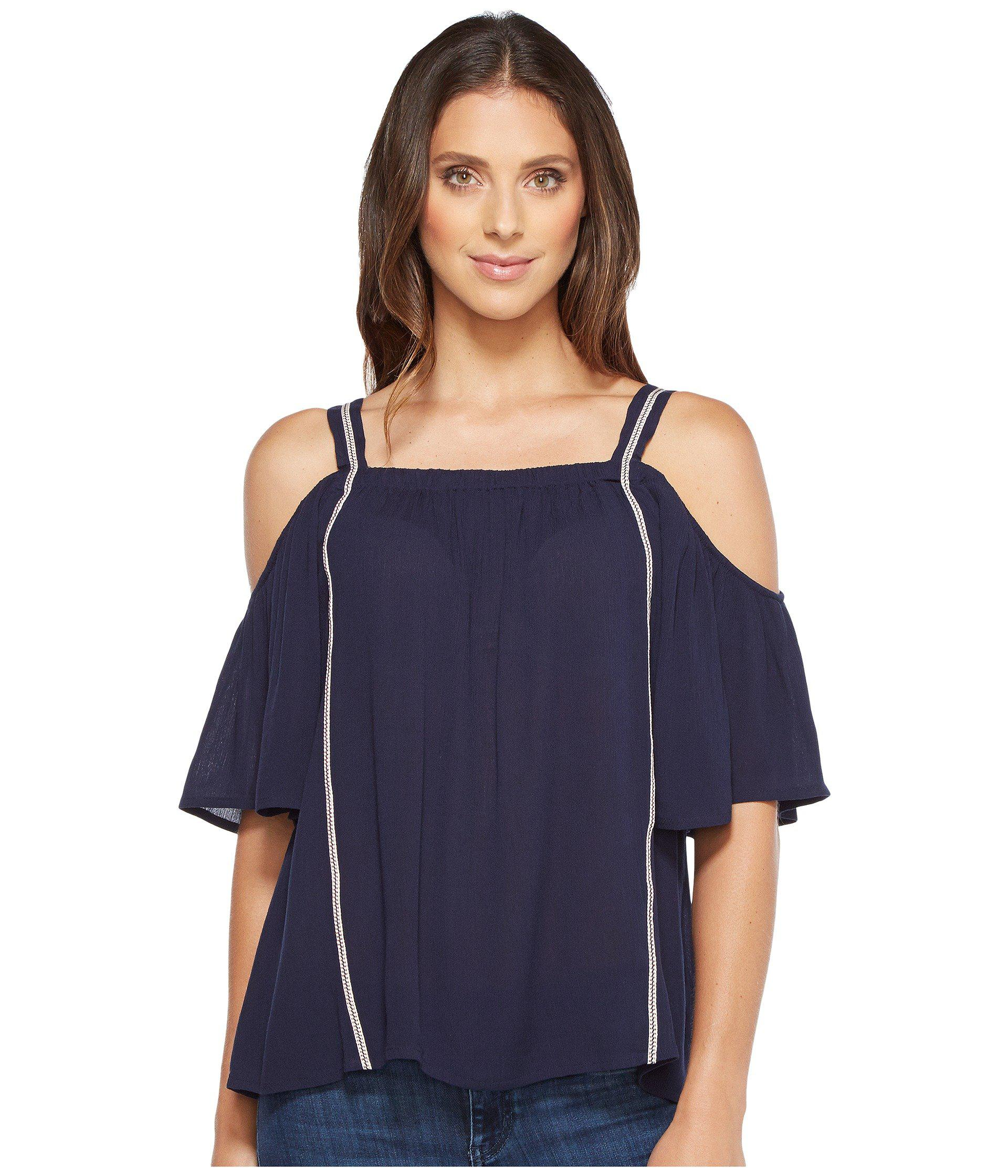 40453b680d24f4 Lyst - B Collection By Bobeau Cold Shoulder Blouse in Blue - Save 61%