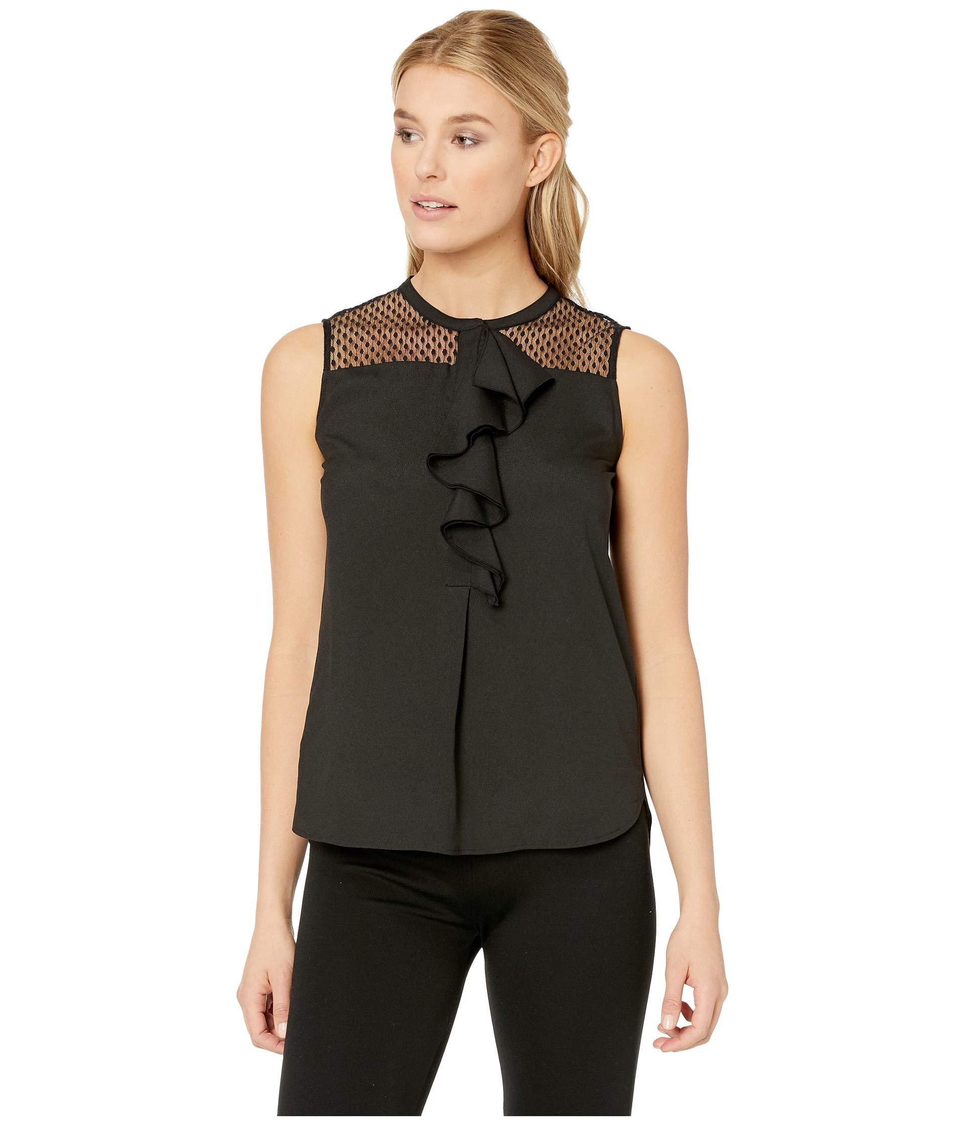 1d2e907ce Lyst - Calvin Klein Sleeveless Lace ruffle Top in Black