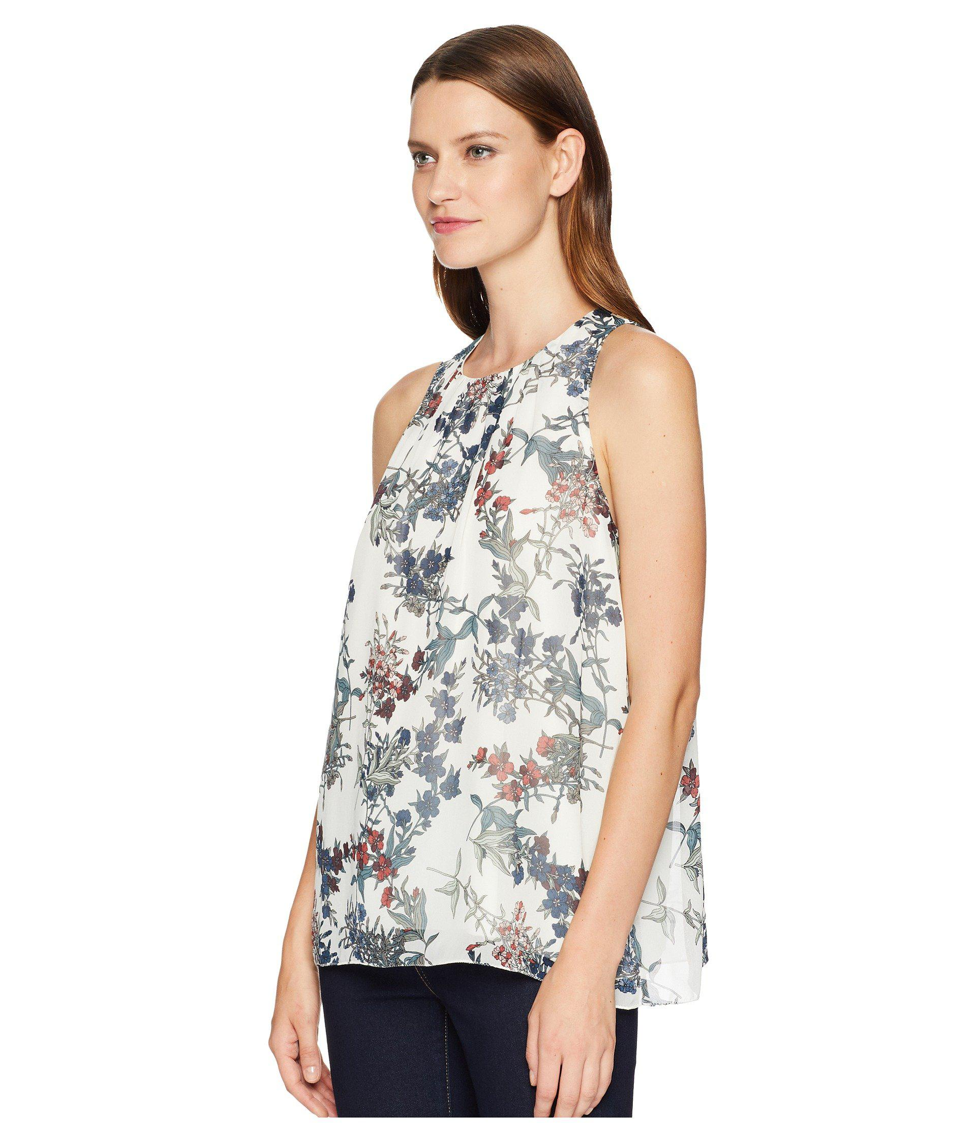 def38f068c57fc Lyst - Vince Camuto Sleeveless Garden Heirloom Floral Blouse in White -  Save 56%