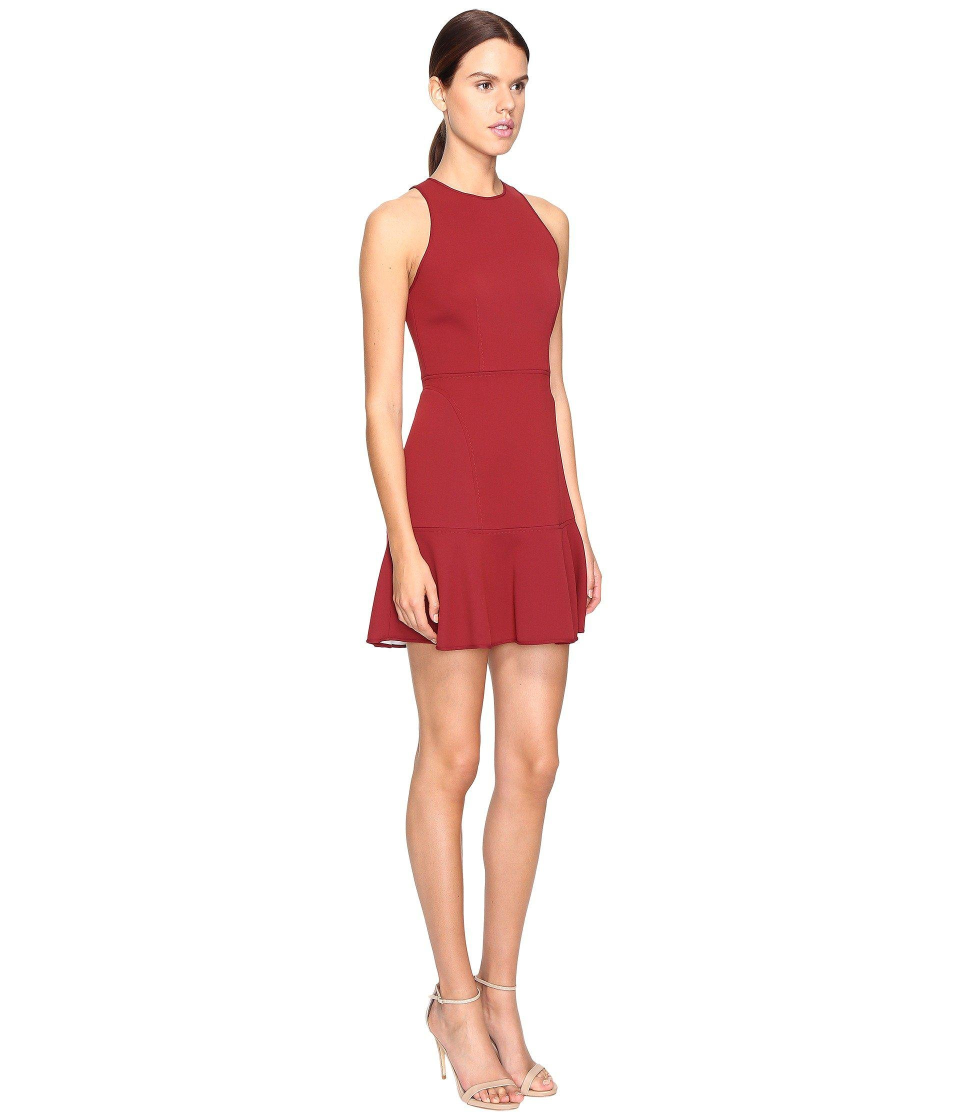 fa798da7ab Theory Felicitina Bonded Double Crepe Dress in Red - Lyst