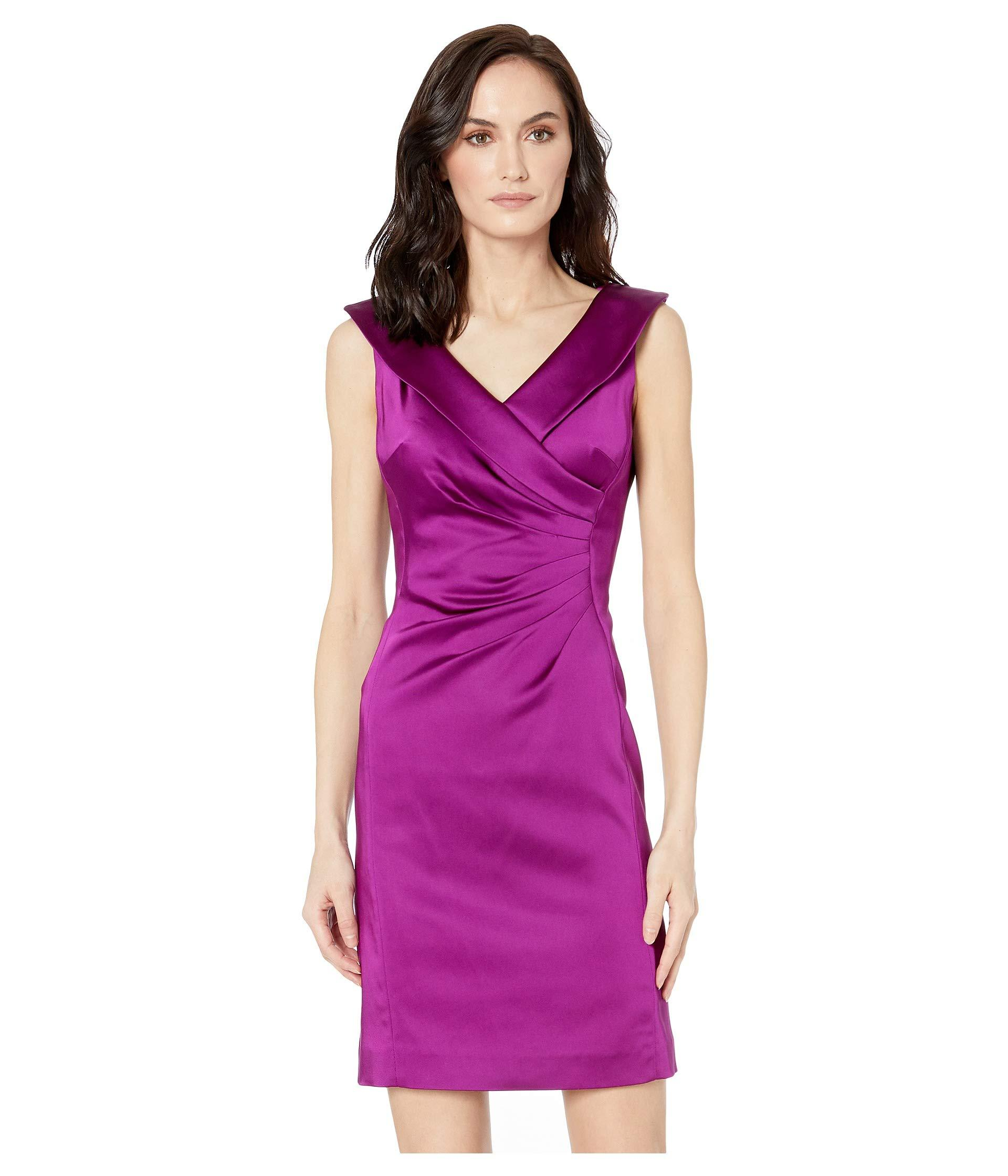 d2d27134 Lyst - Tahari Stretch Satin Dress With Side Ruching And Portrait ...