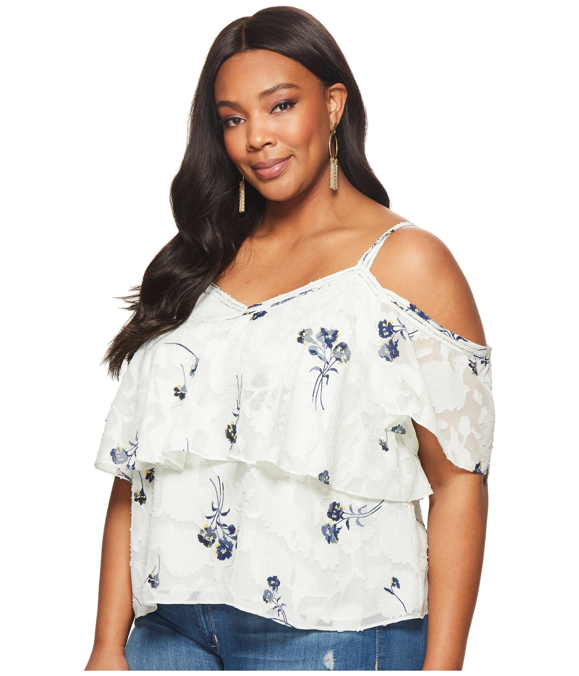 c053617a33b5a Lyst - Lucky Brand Plus Size Floral Cold Shoulder Top - Save 23%