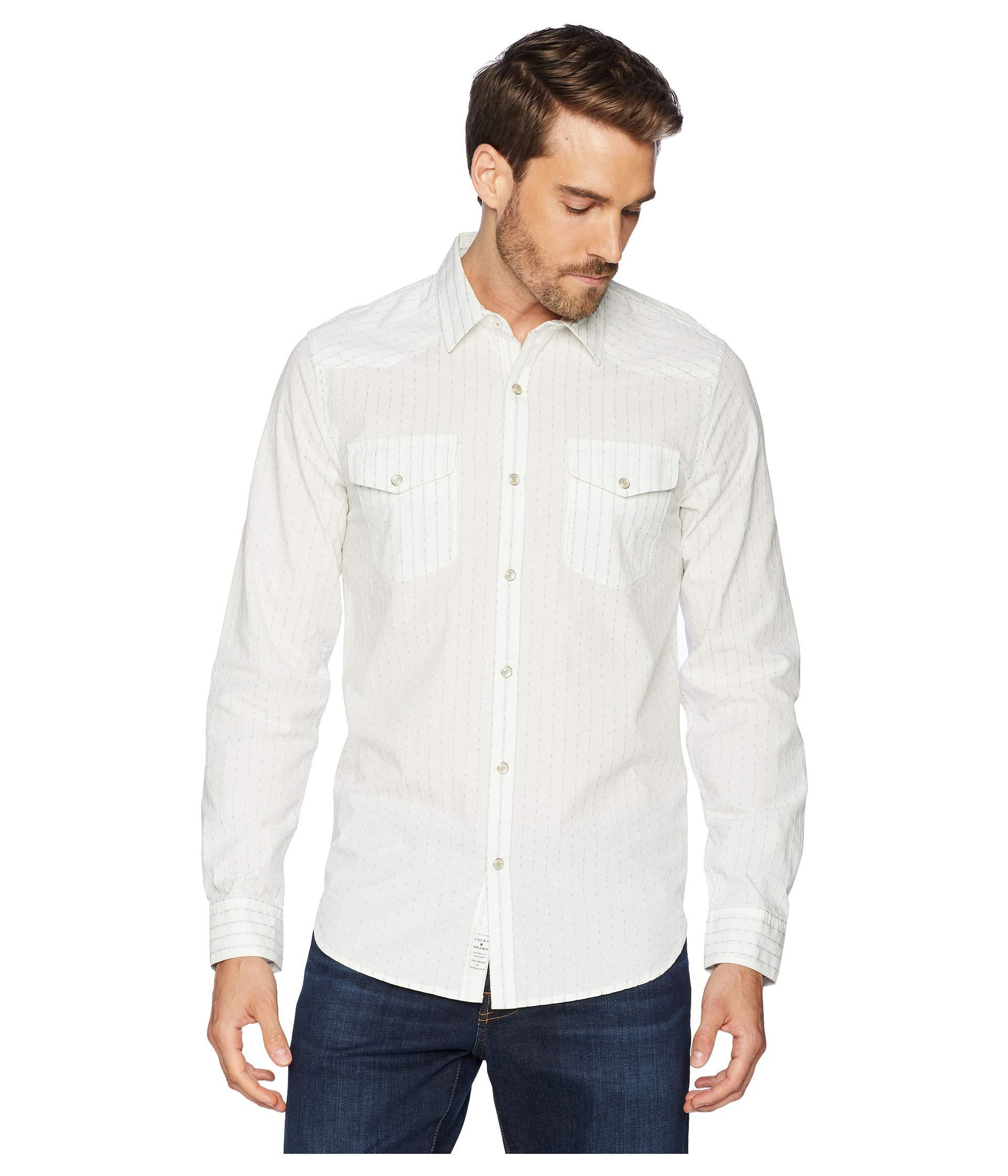 949d752463 Lyst - Lucky Brand Dobby Western Shirt in White for Men - Save 8%