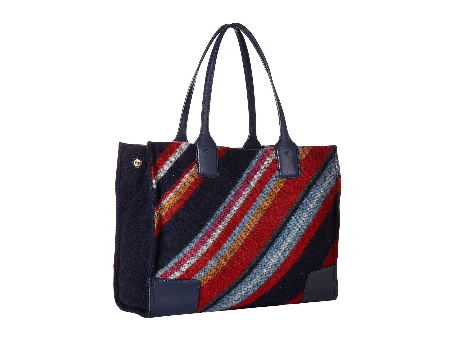 6218a6cbfea Lyst - Tory Burch Ella Fabric Stripe Mini Tote in Blue - Save 50%
