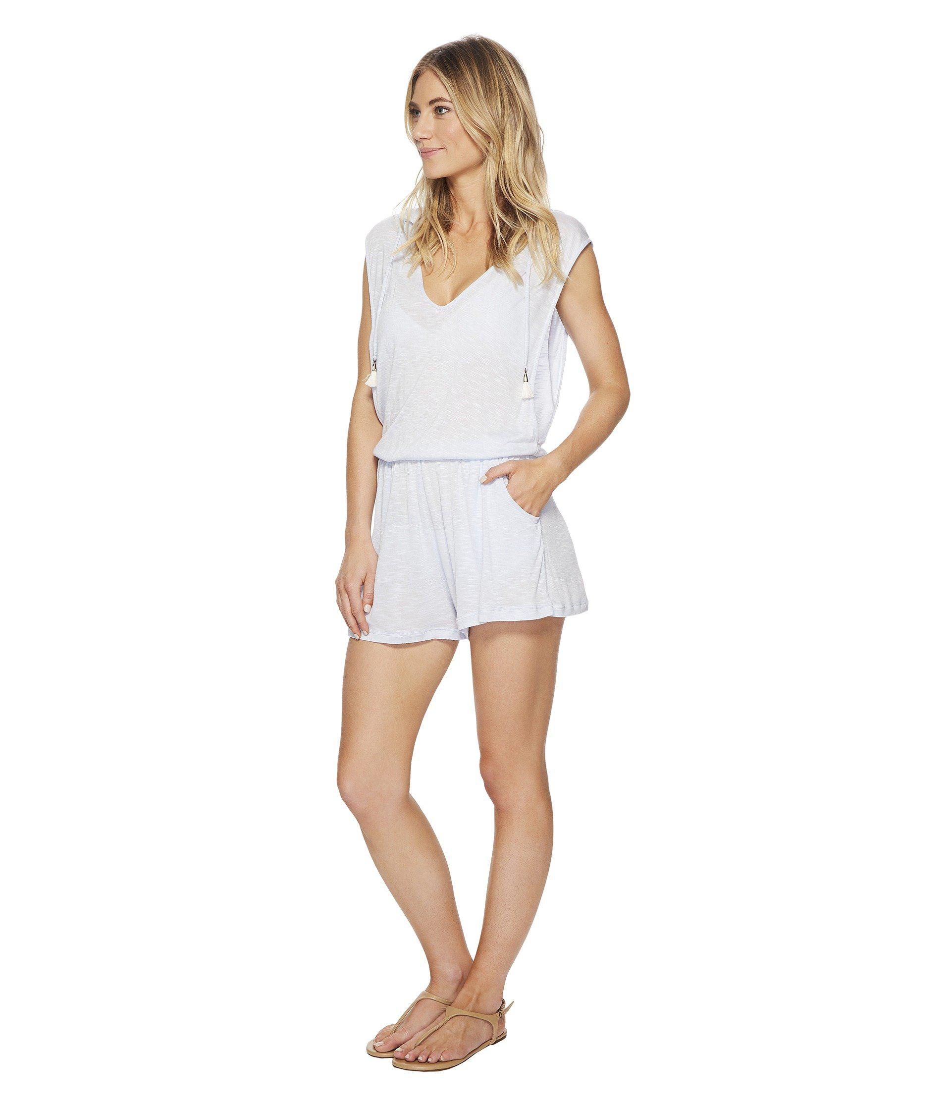 4ec7333aaebc3 Lyst - Lucky Brand Solid Attitude Hooded Romper Cover-up With Side Pockets  in White - Save 3%