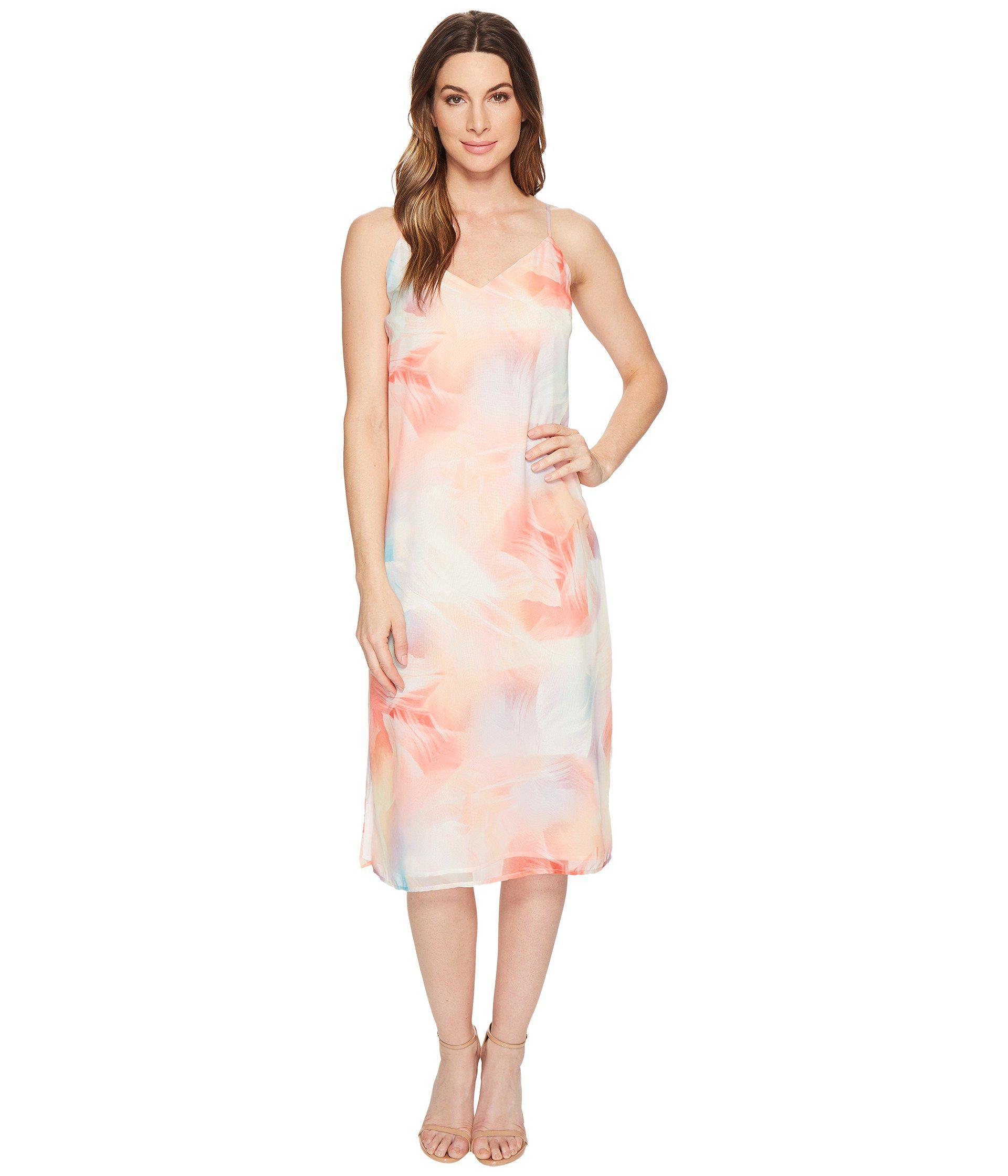3e7883bec27f Lyst - Cece Jayme - Sleeveless Colorful Vapors Slip Dress in White ...