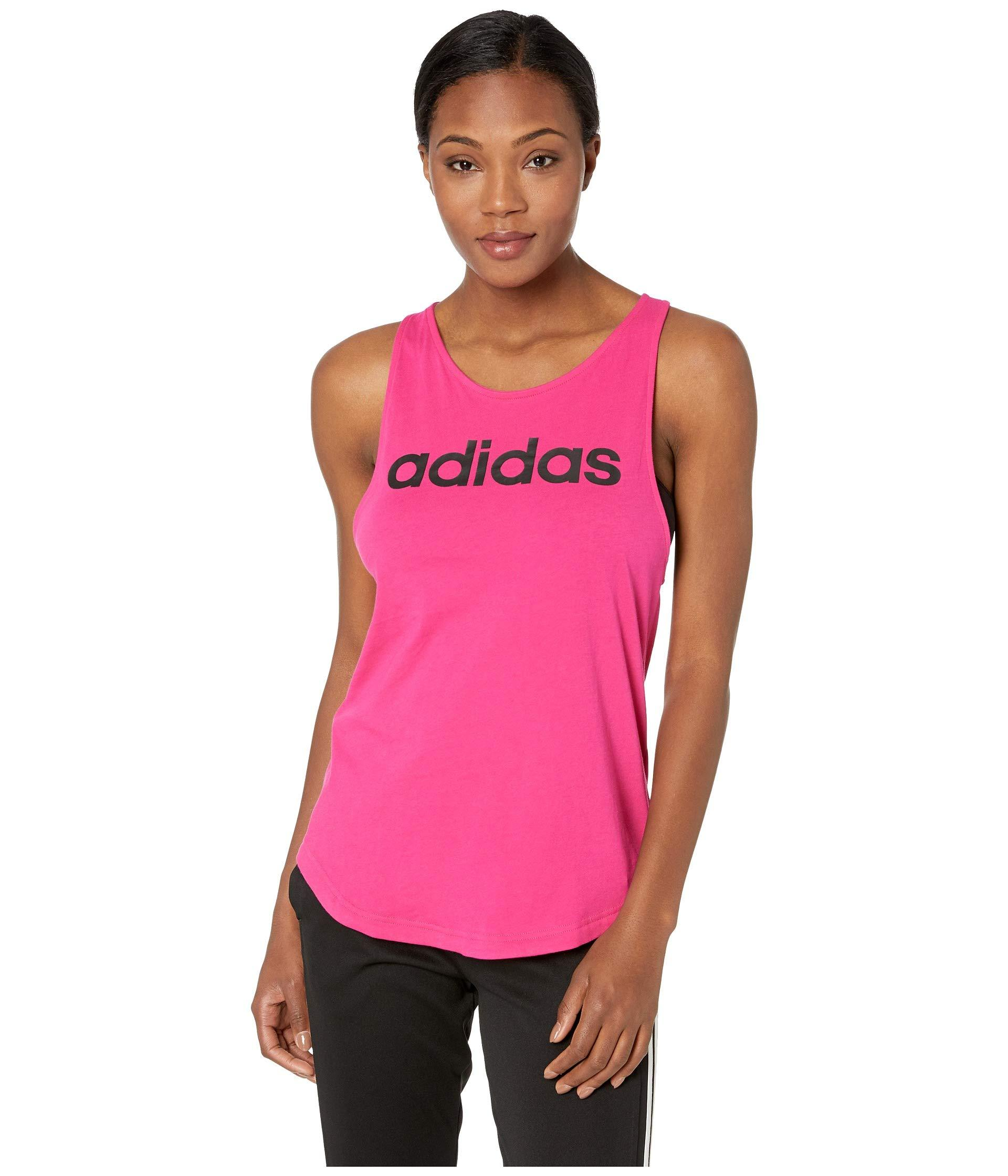 c0b8042d Adidas - Pink Essentials Linear Loose Tank Top - Lyst. View fullscreen