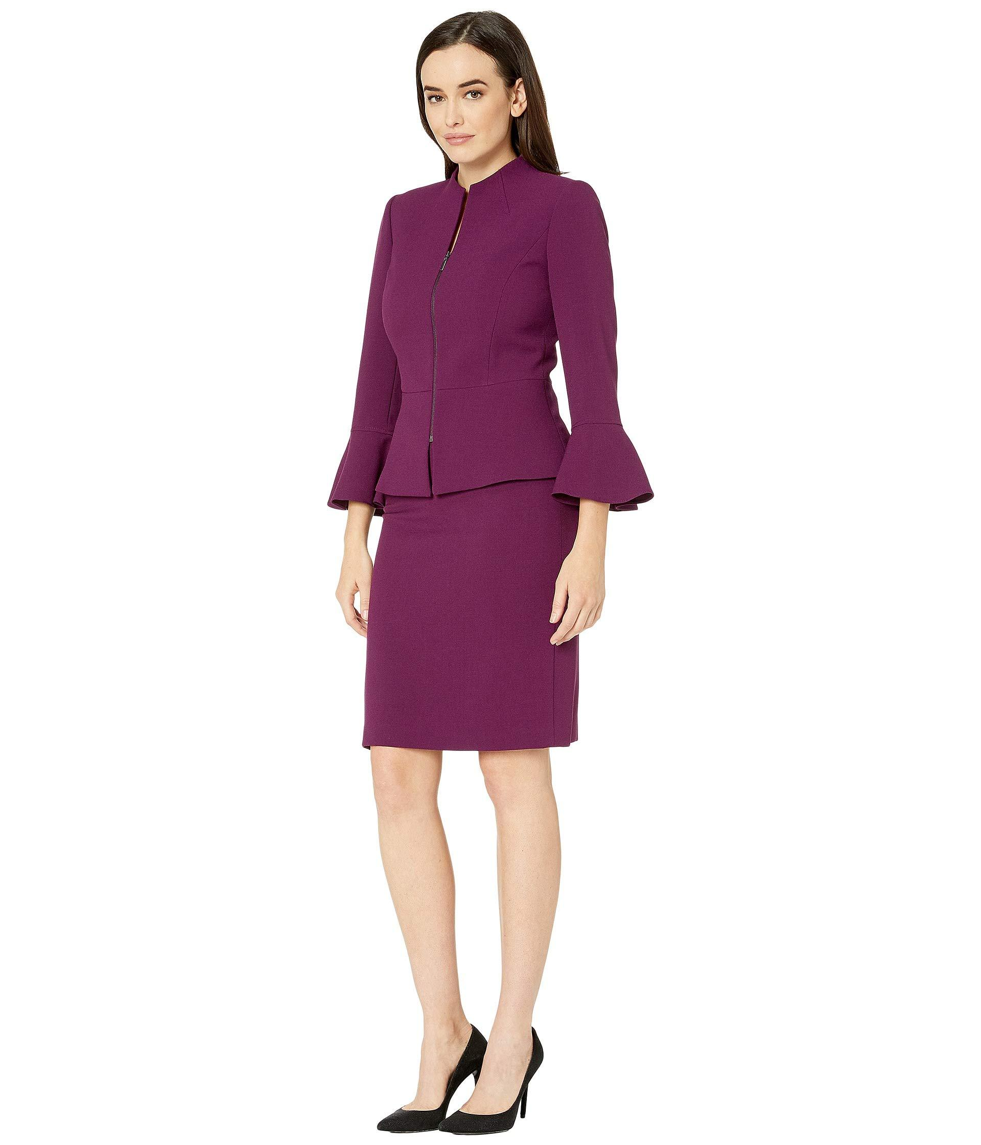 71046edc6bff Lyst - Tahari Skirt Suit With Collarless Jacket in Purple