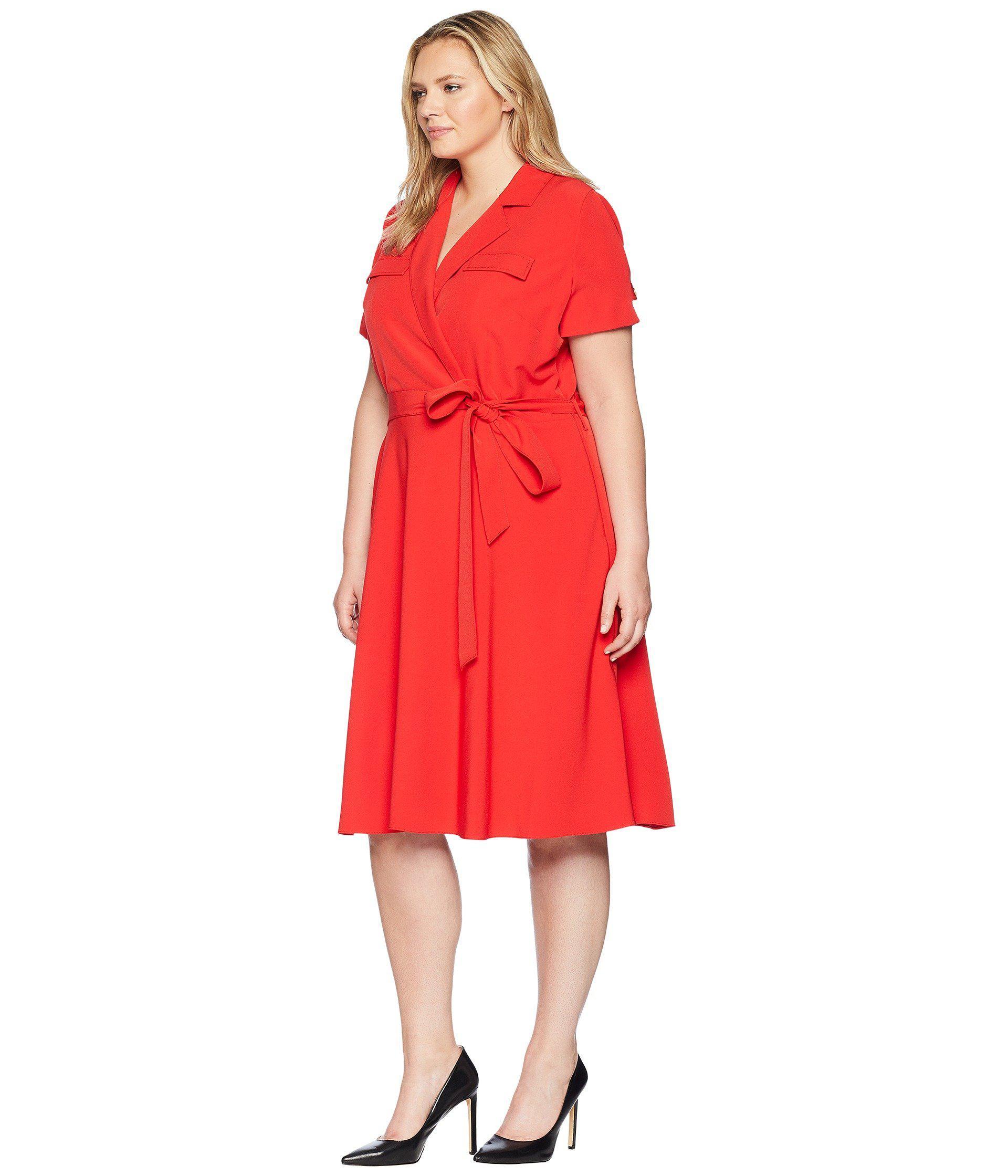659fc9a03b8f Lyst - Tahari Plus Size Crepe Shirtdress in Red - Save 22%