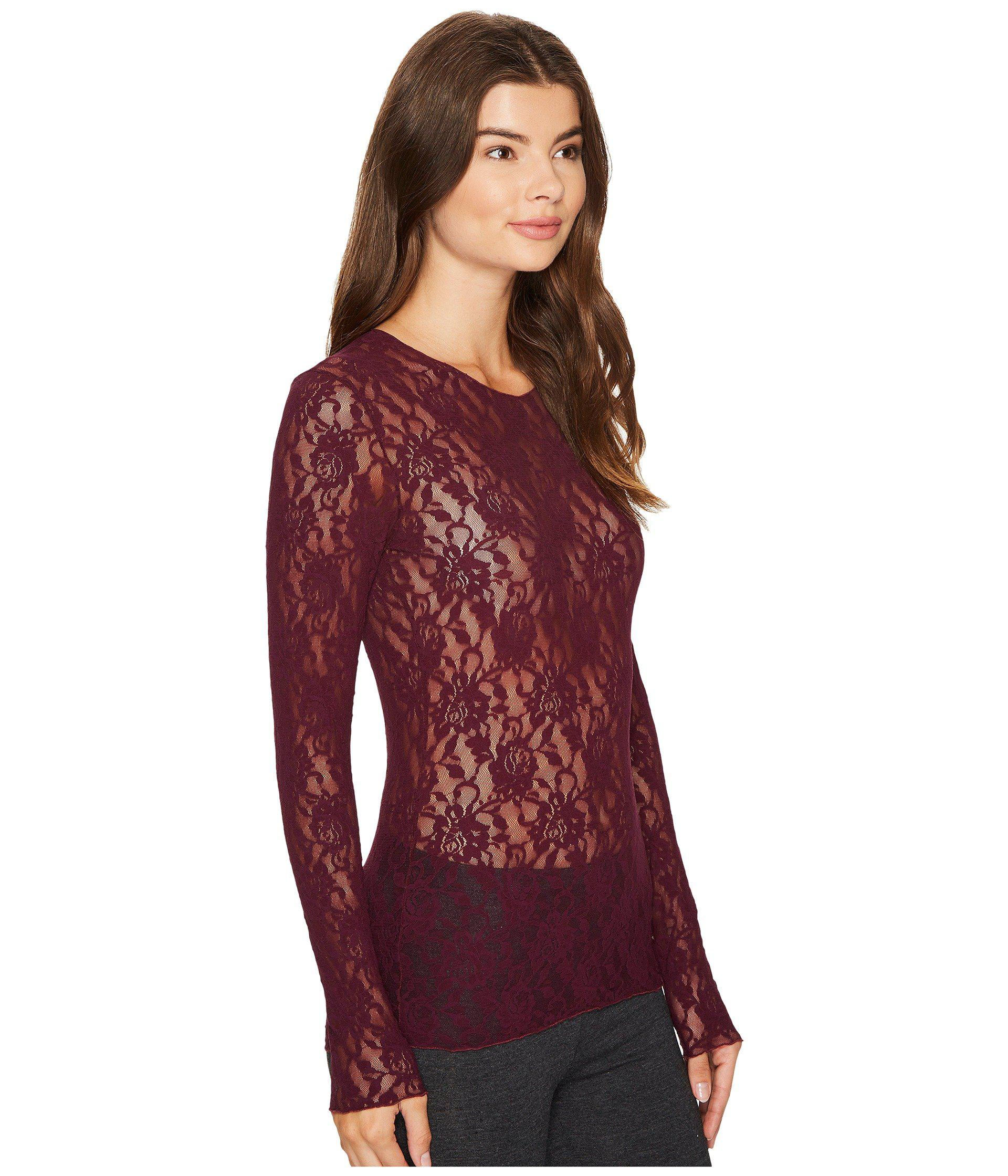93f4d5dacb8d70 Hanky Panky Signature Lace Unlined Long Sleeve Top in Red - Lyst