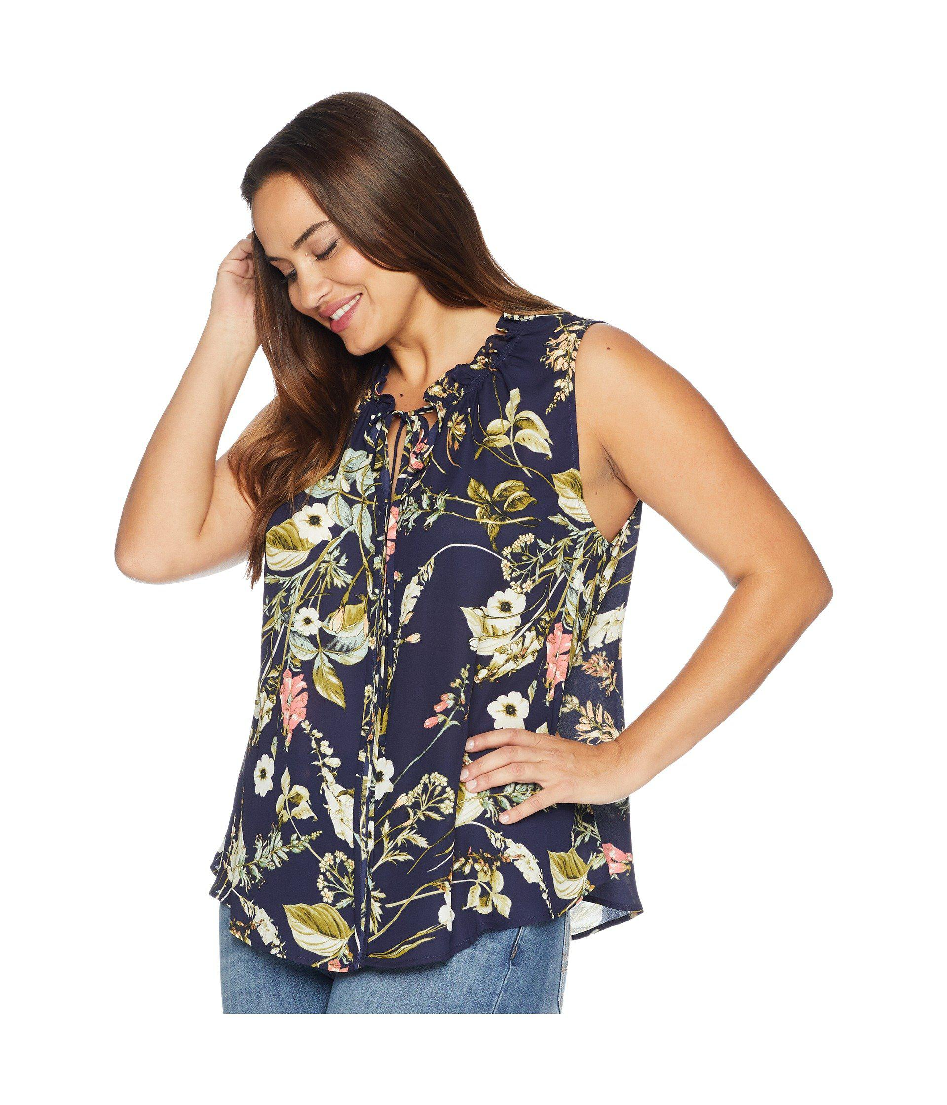 Lyst - B Collection By Bobeau Plus Size Dahlia Printed Blouse in Blue - Save 51%
