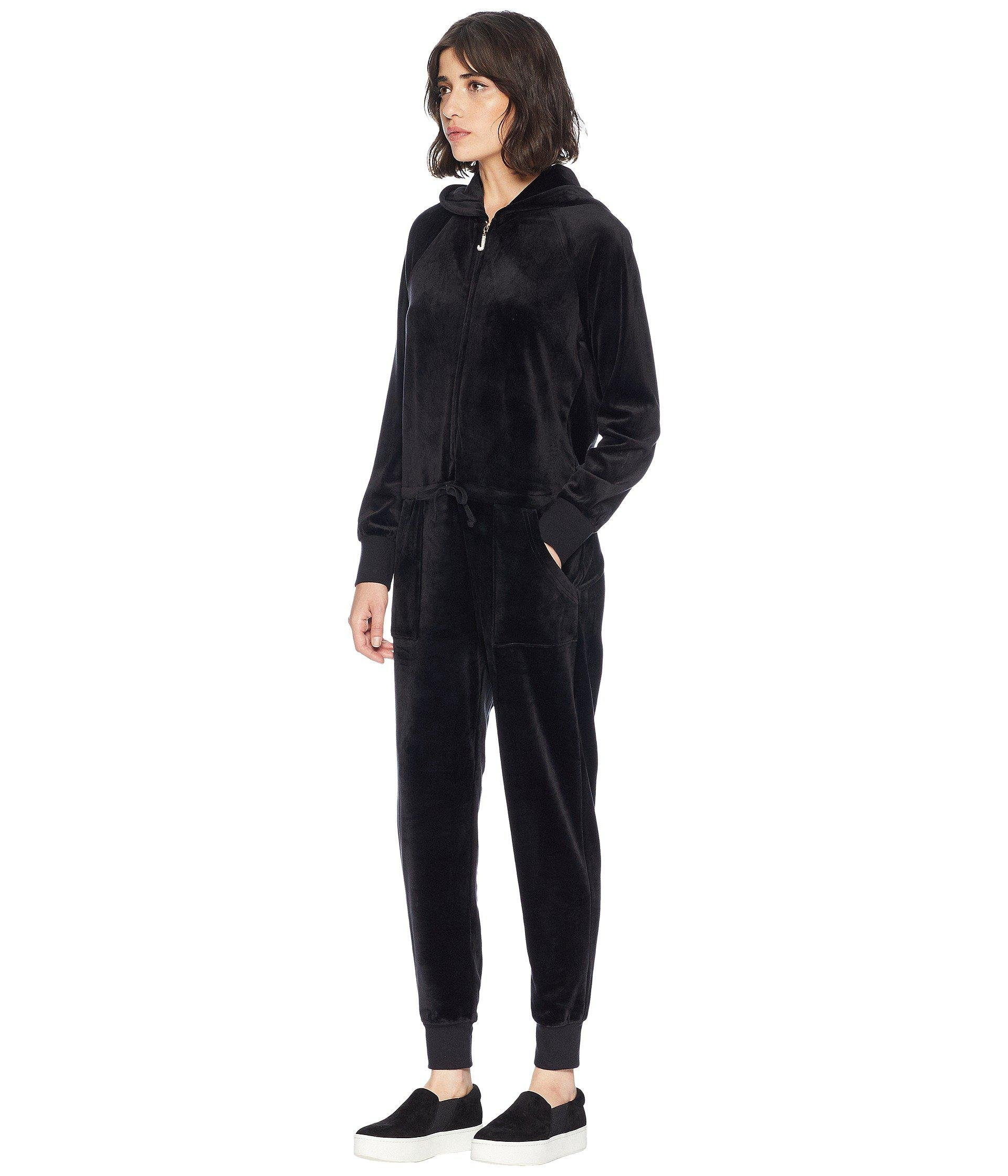 8211019762d1 Lyst - Juicy Couture Track Luxe Velour Jumpsuit W  Charm Pull in Black