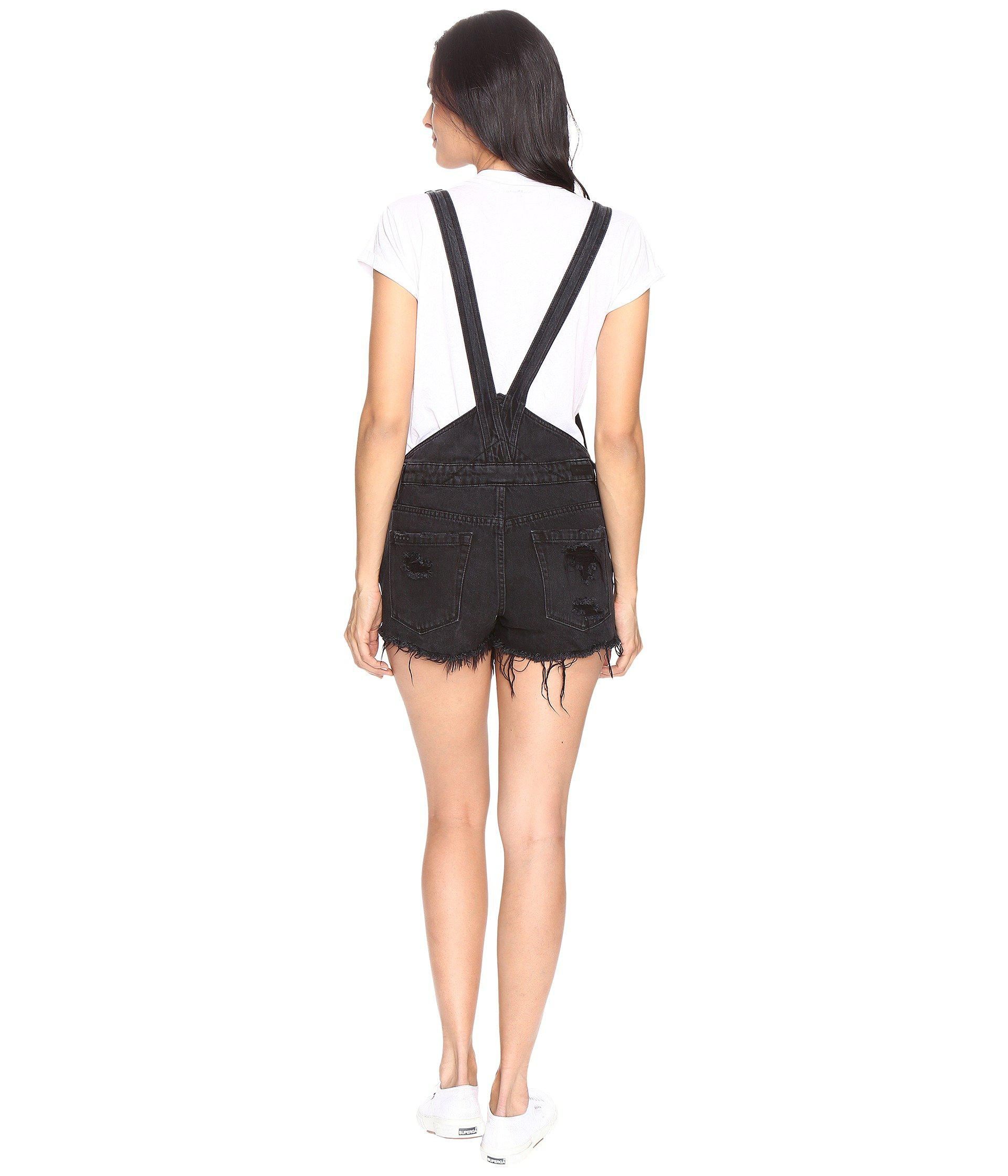 08a978230 Blank NYC Black Cut Off Overalls In Rock Steady in Black - Lyst