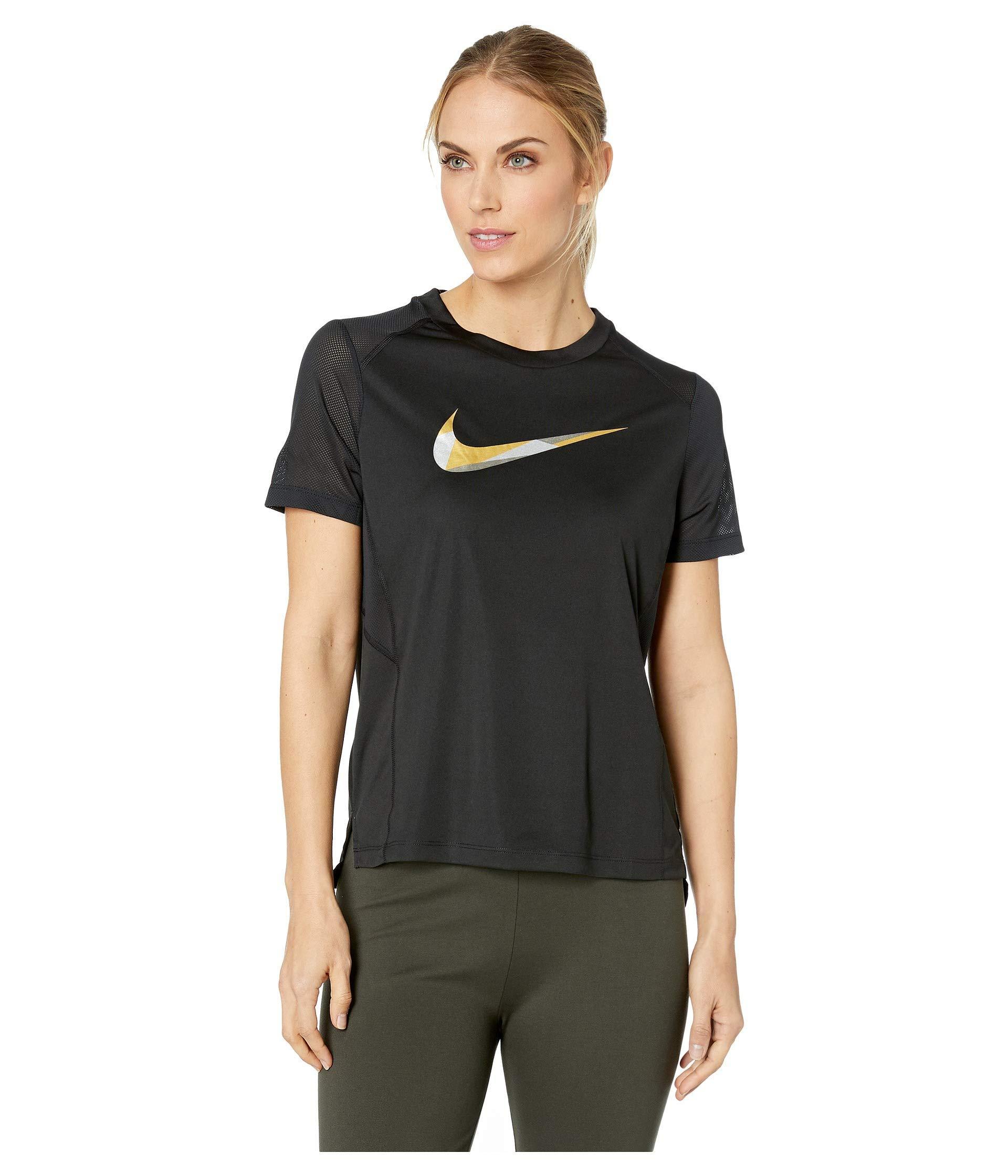 reputable site ba927 27da3 Lyst - Nike Miler Metallic Short Sleeve Top in Black - Save 4%