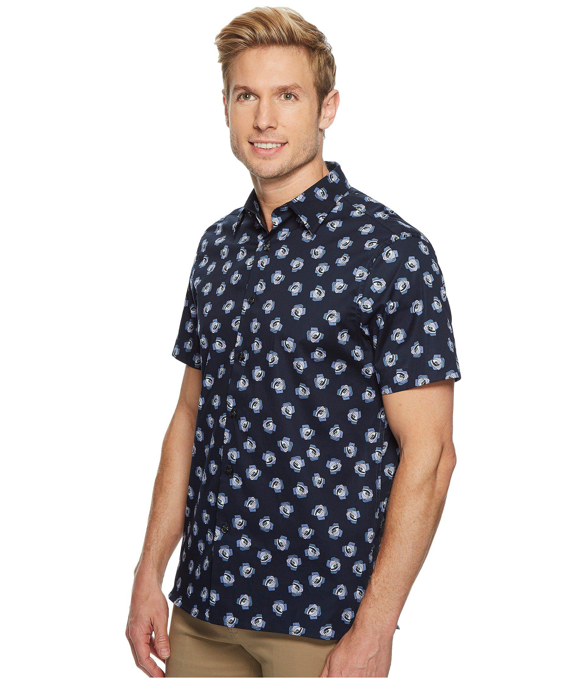 3134e9930b Lyst - Perry Ellis Short Sleeve Cluttered Rose Shirt in Blue for Men - Save  43.58974358974359%