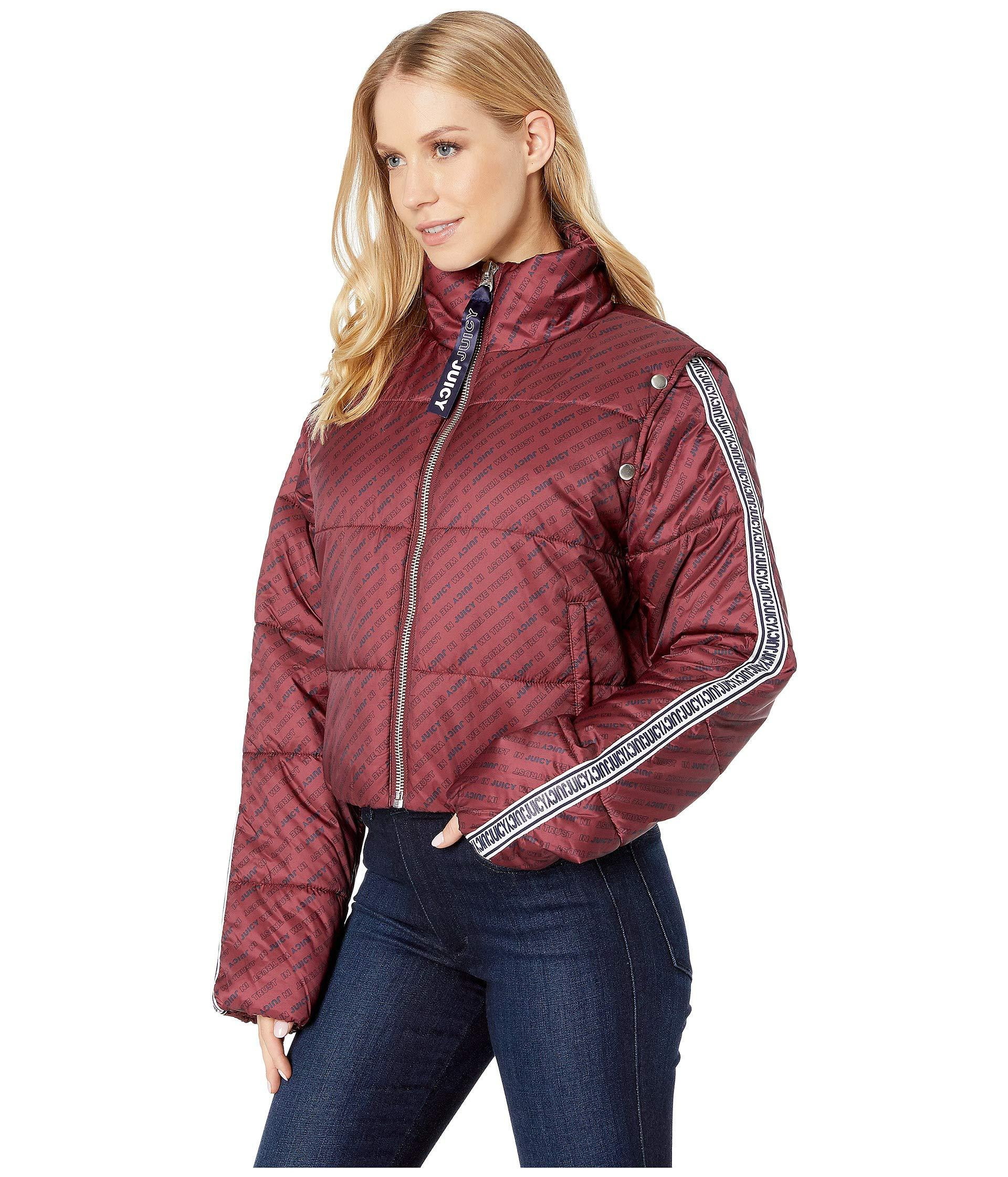 7de6a351b9 Lyst - Juicy Couture Jxjc Repeat Snap Off Sleeve Puffer Jacket in Red