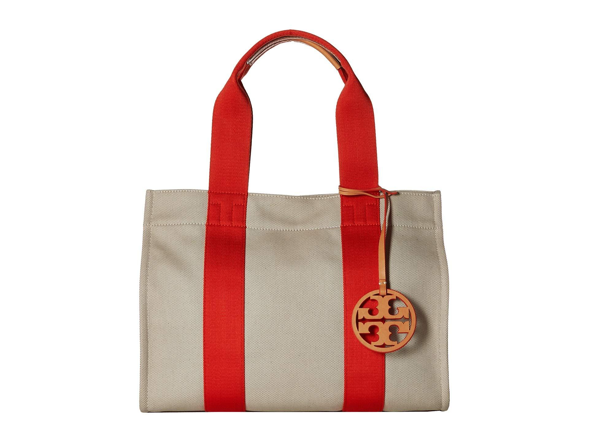 037d6de845f612 Lyst - Tory Burch Miller Canvas Tote in Red - Save 53%