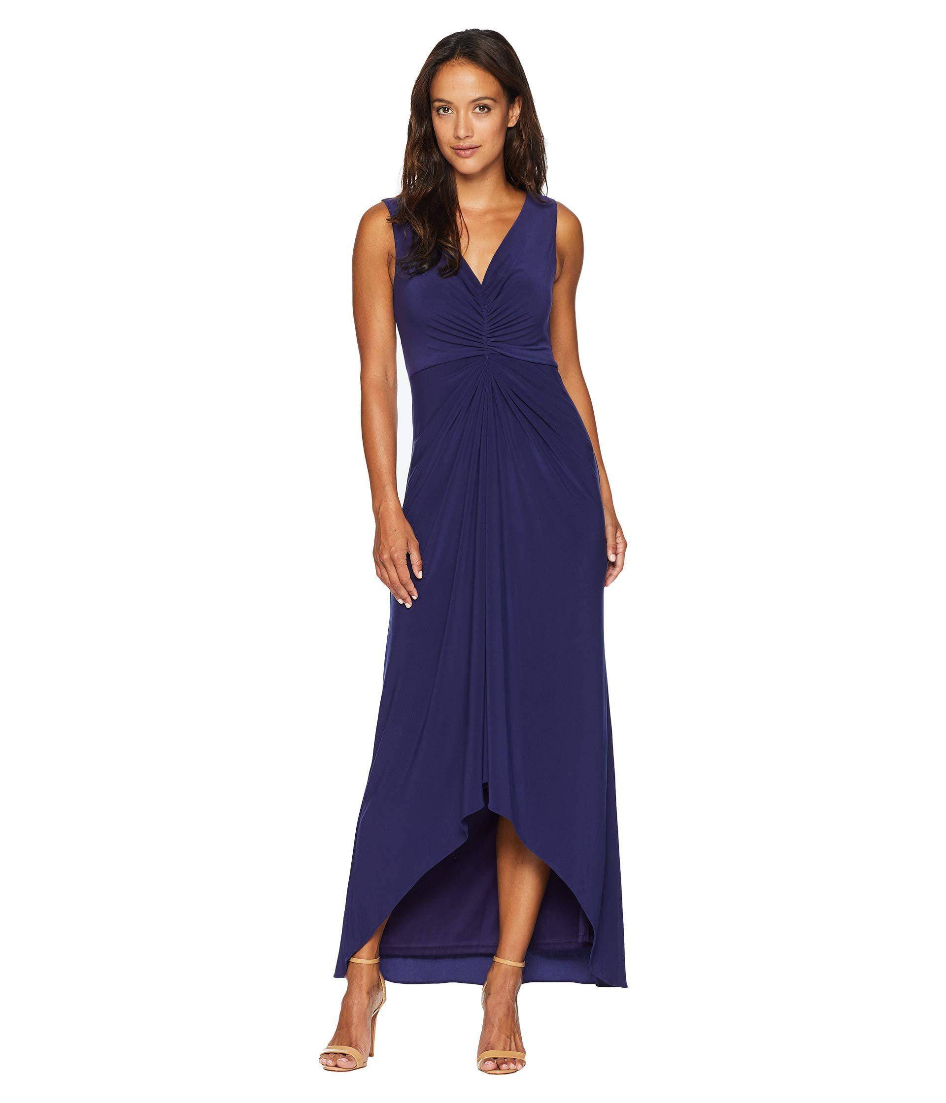 9c0cbdaec0 Lyst - Adrianna Papell Petite High-low Draped Front Jersey Gown in ...